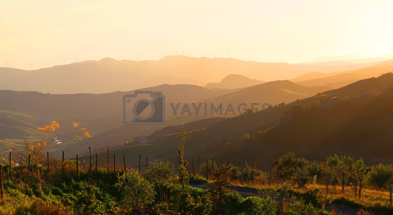 Photo of mountain on sunset, Sicily, Italy