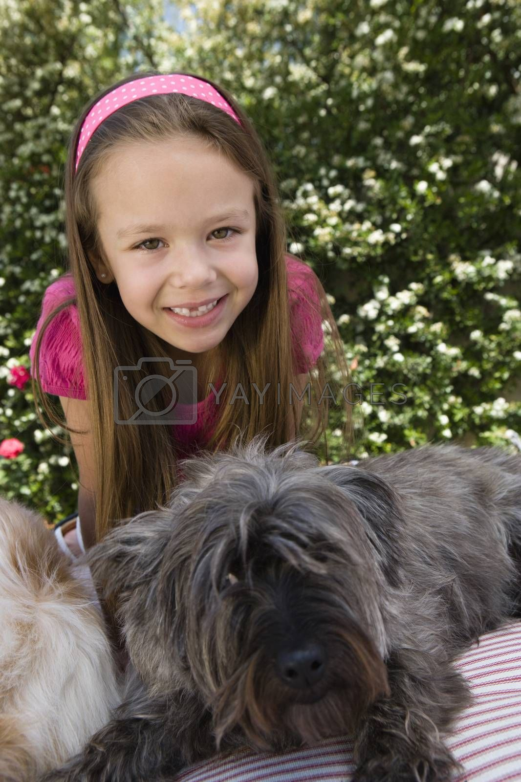 Little Girl with Pets