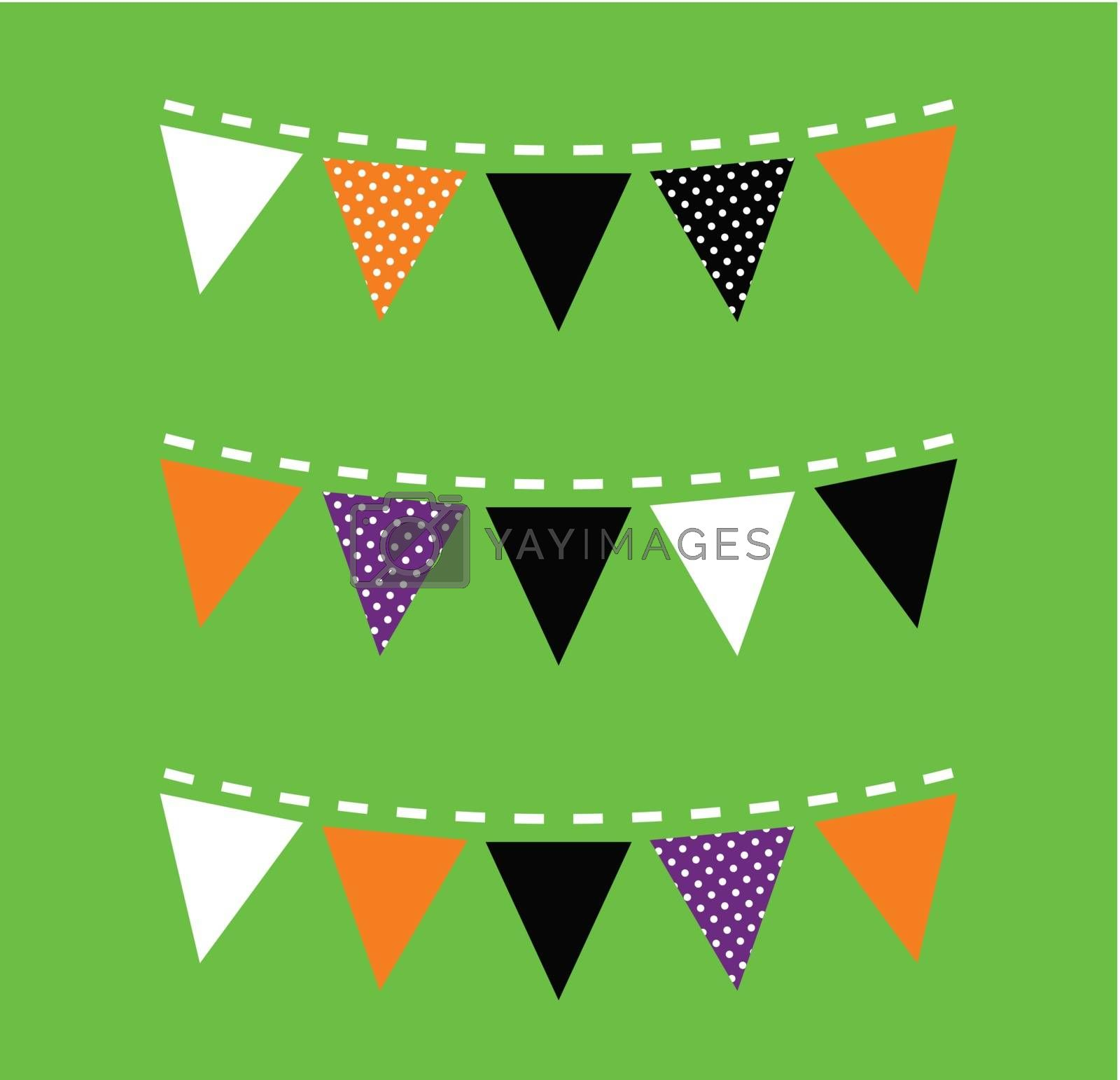 Halloween Bunting with triangle Flags. Vector