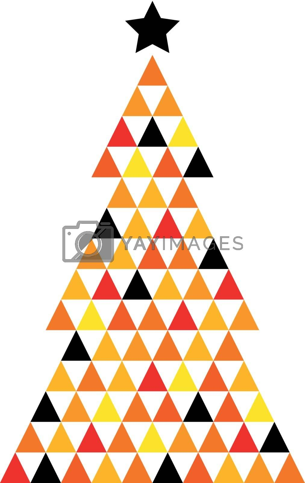 Abstract Xmas Tree made from colorful triangles. Vector Illustration