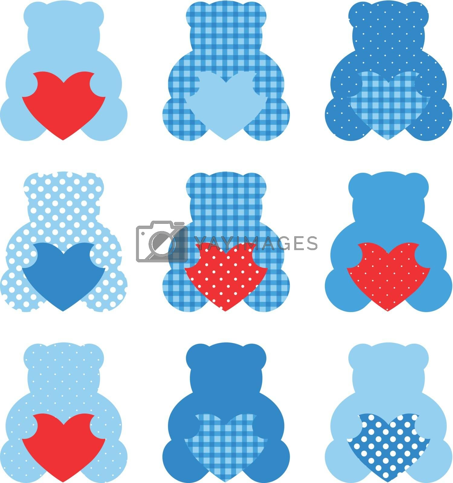 Cute Love Teddy Bear collection. Vector Illustration