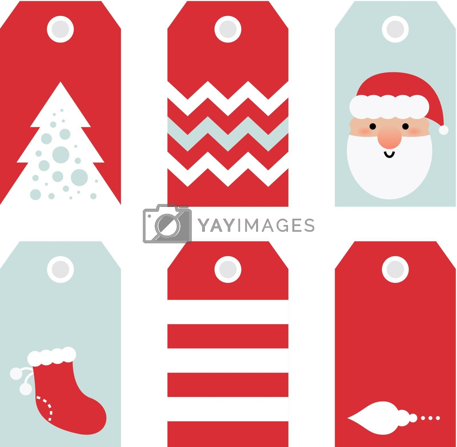 Beautiful Tags set for Christmas - isolated on white. Vector set