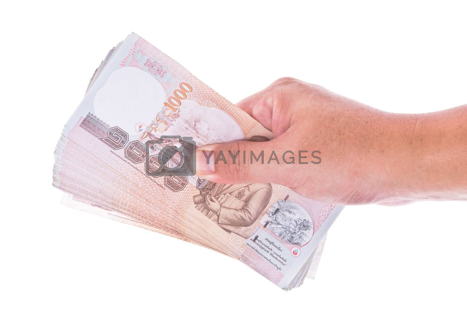 hand with money isolate on white
