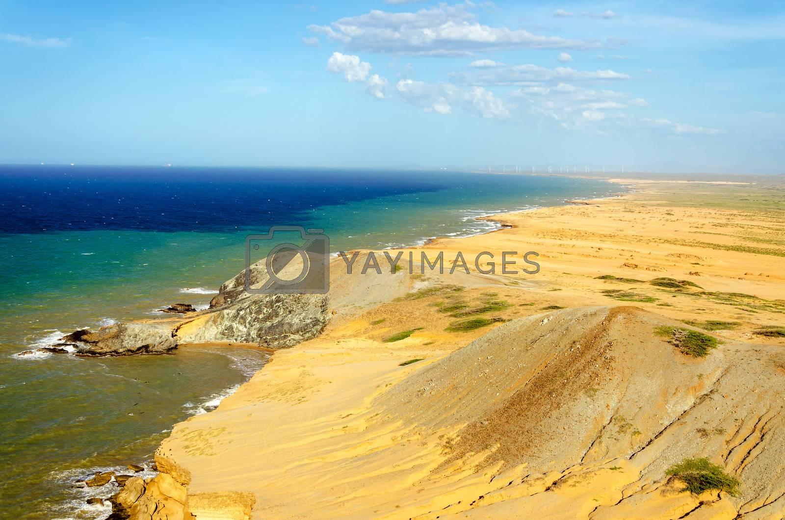 Desert landscape and seascape near Cabo de la Vela in La Guajira, Colombia
