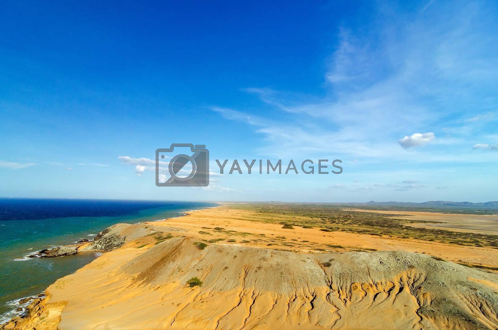 Dry desert coastal landscape next to Caribbean Sea in La Guajira, Colombia