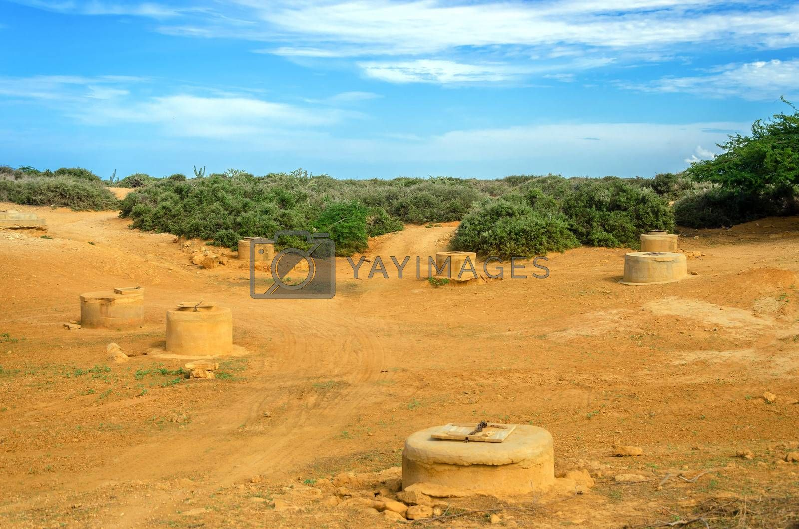 Wells in a desert in La Guajira, Colombia used for water by the indigenous Wayuu