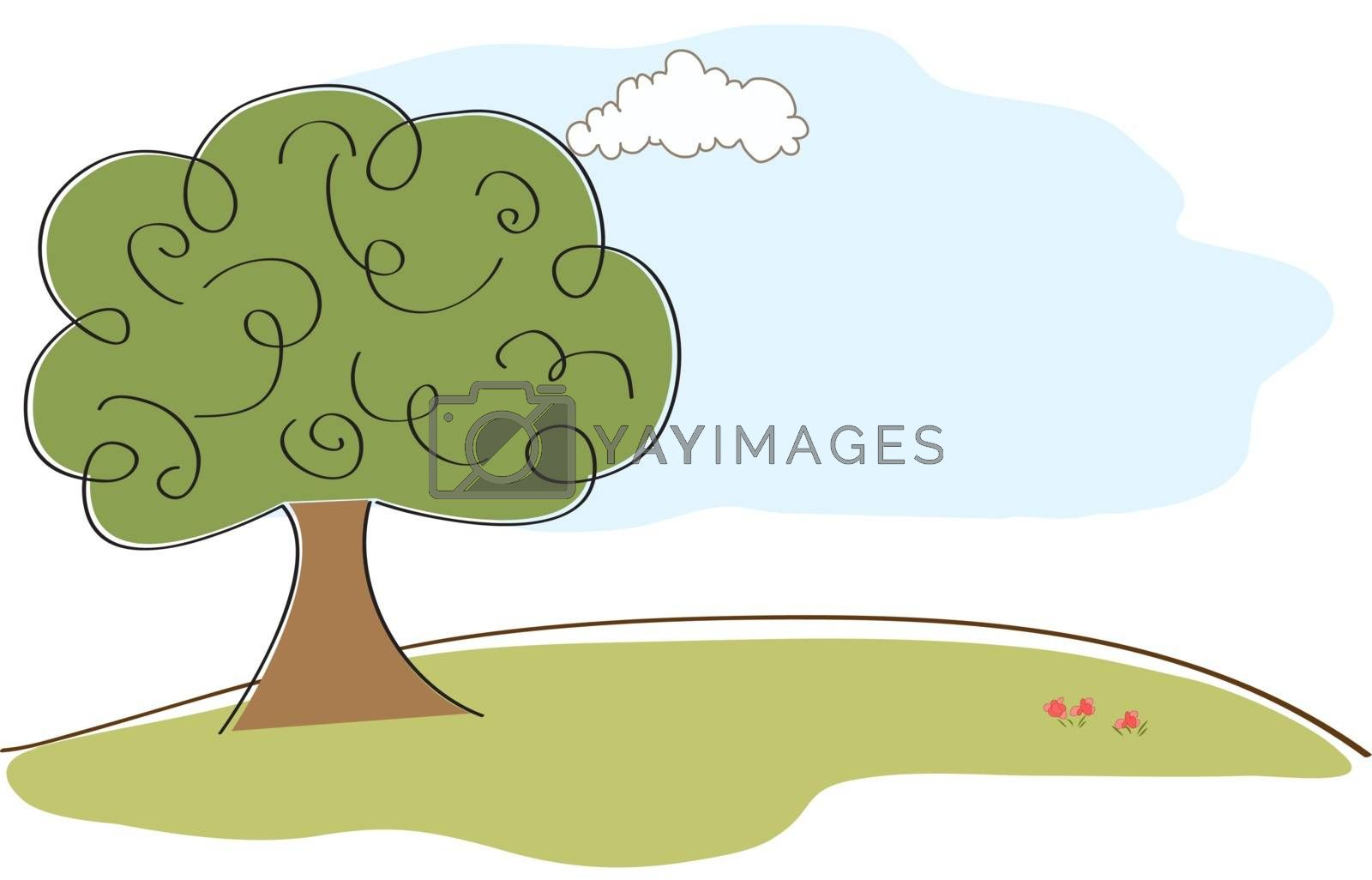 landscape with tree, illustration in vector format