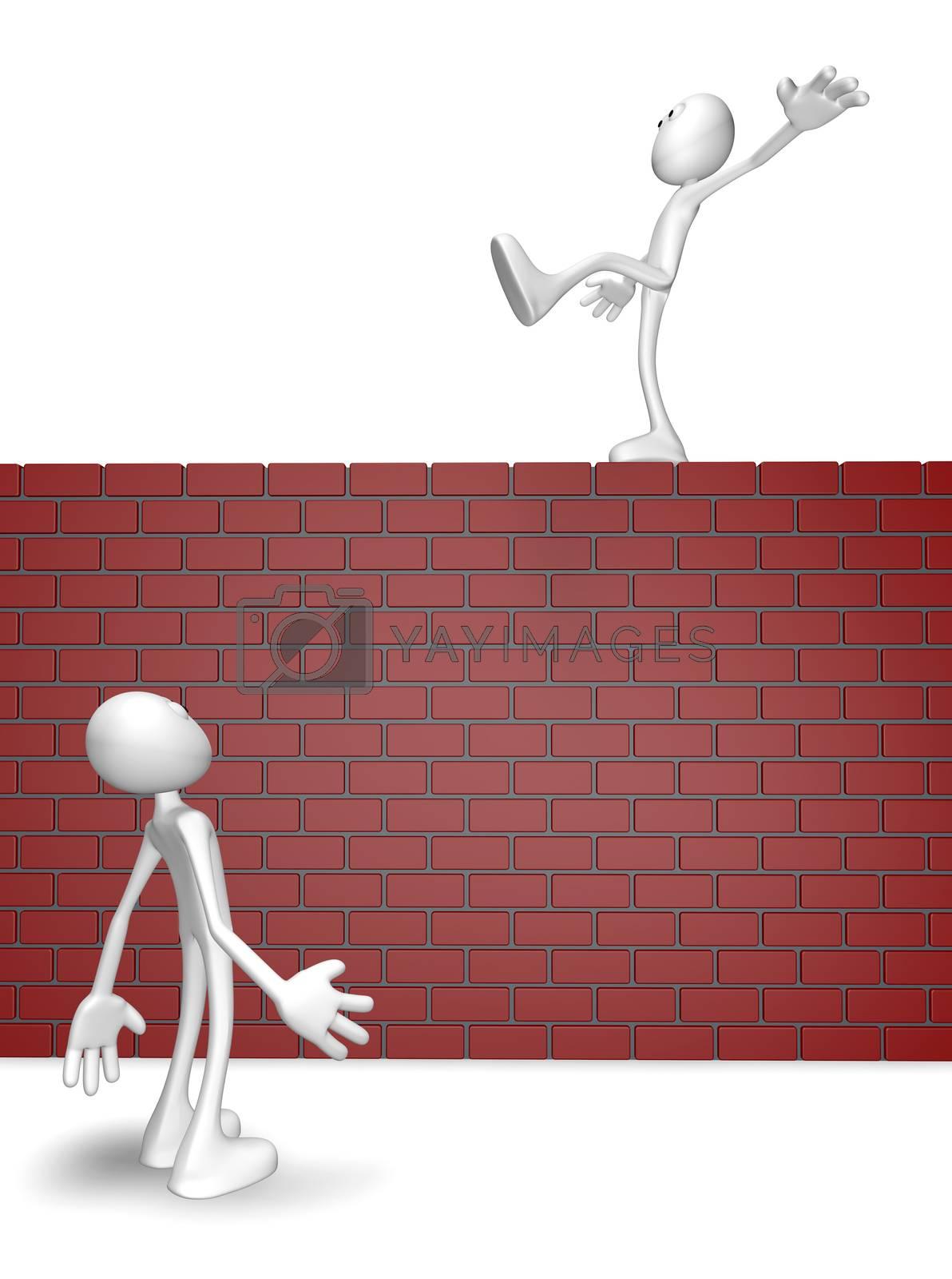 cartoon guy balances on brick wall - 3d illustration