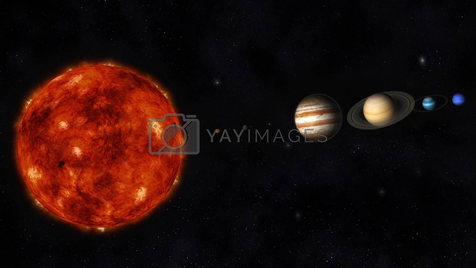 Digital Illustration of the Solar System