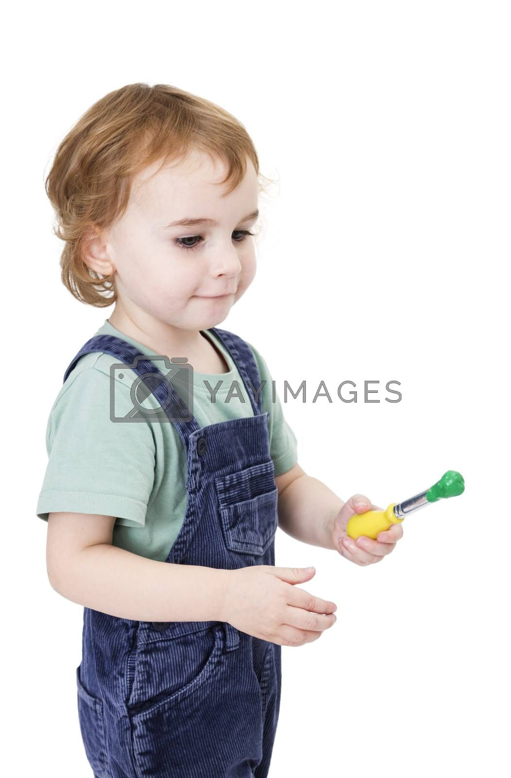 Royalty free image of girl with brush and green paint by gewoldi