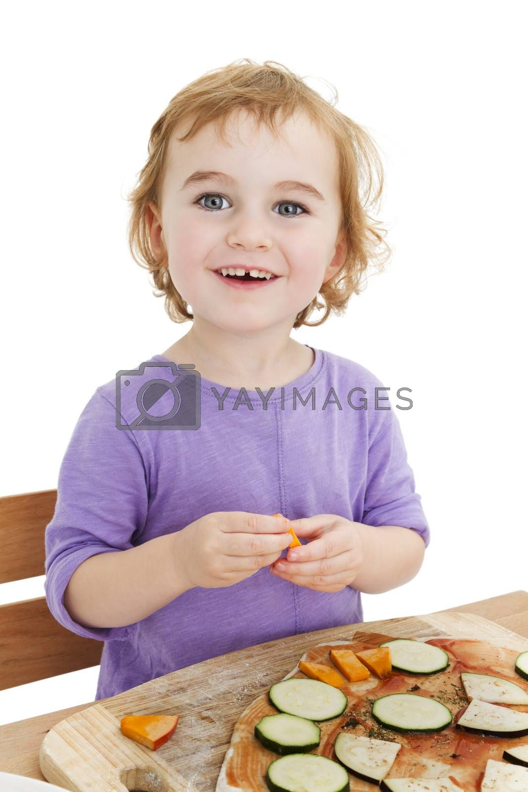 cute laughing girl making pizza. isolated in white background