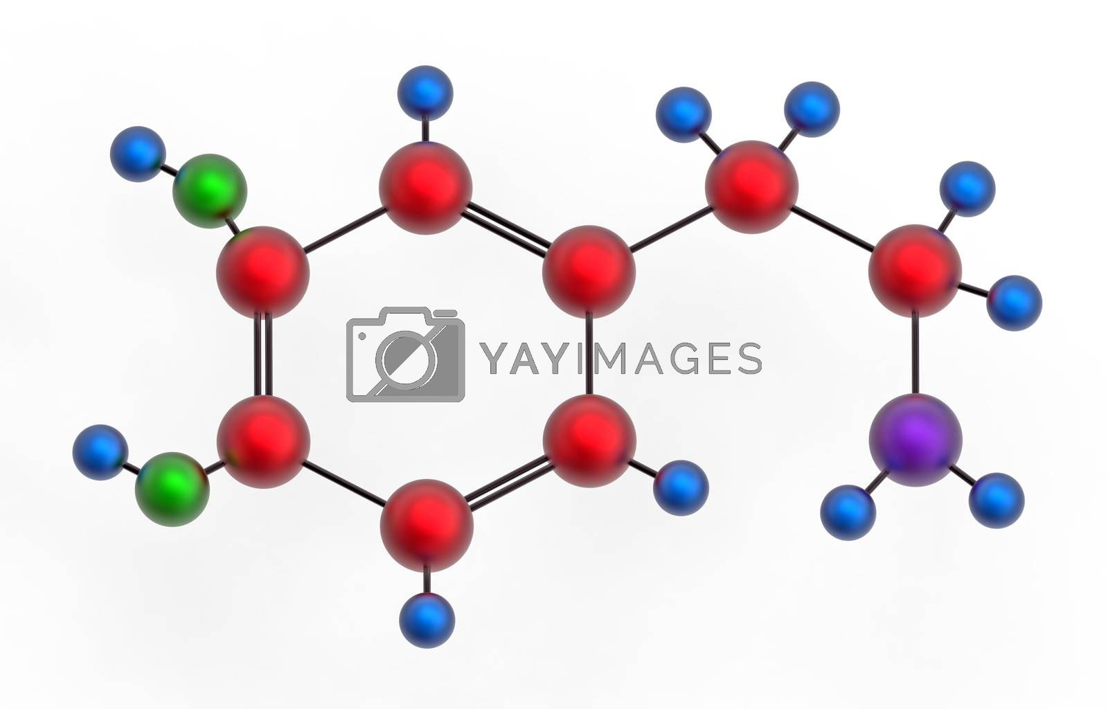 Molecule of dopamine, 3D render, isolated on white