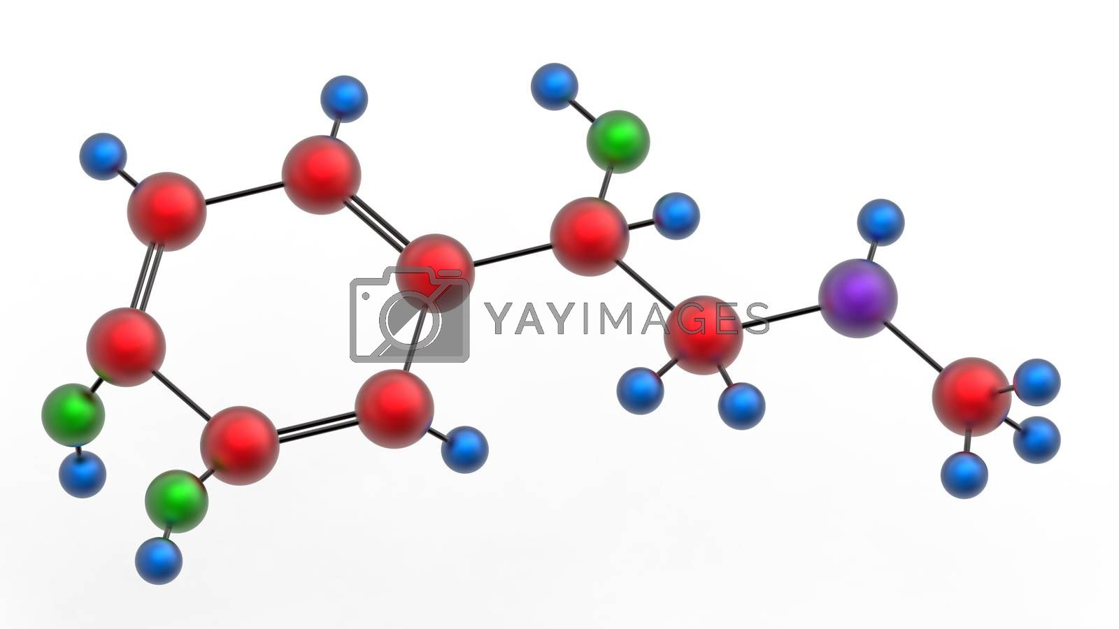 Molecule of epinephrine (adrenaline), 3D render, isolated on white