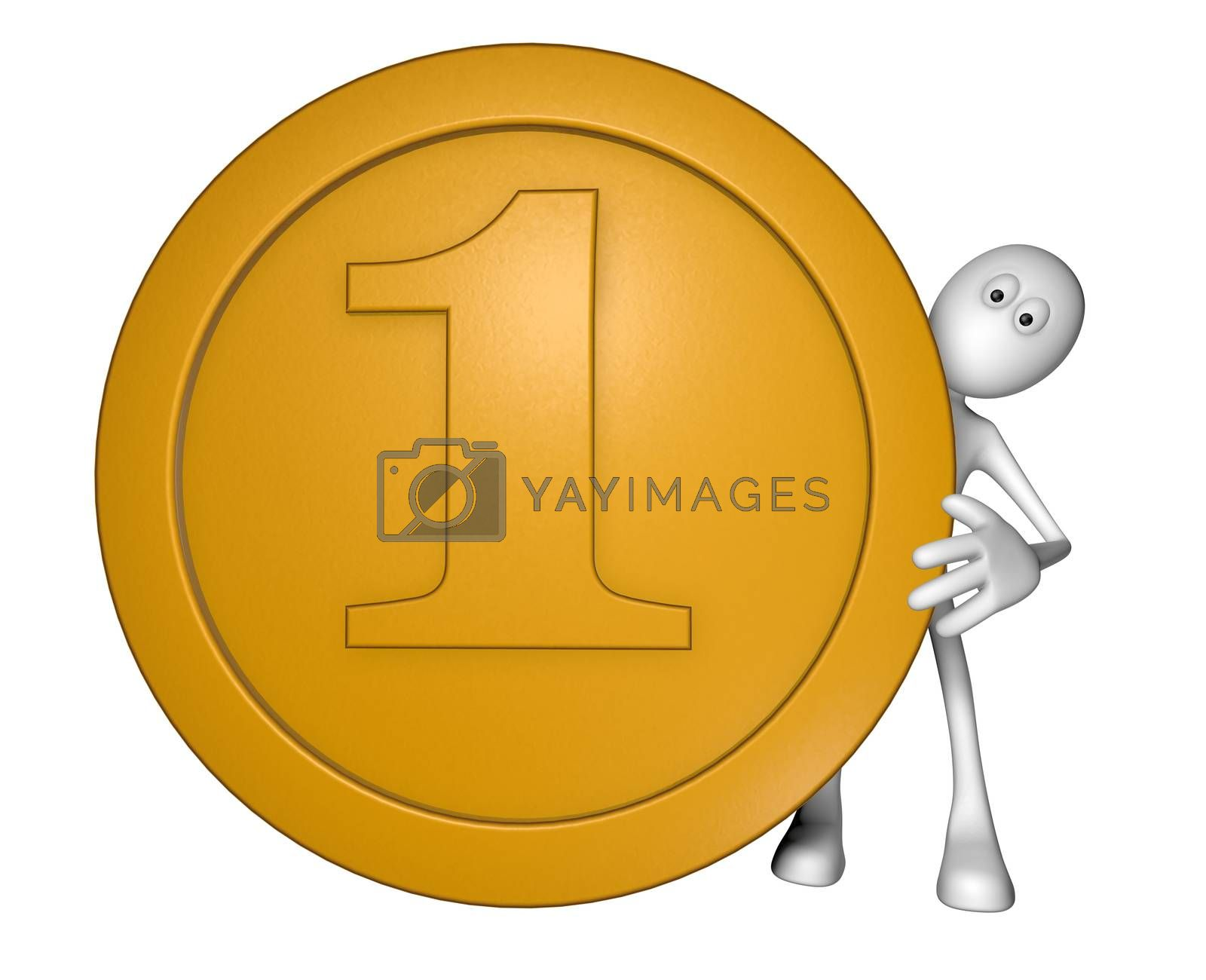 coin and white guy on white background - 3d illustration