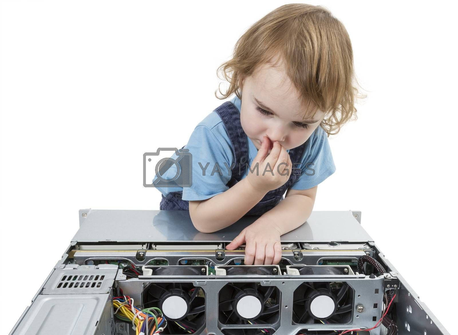 cute child with open network server. studio shot in light grey background
