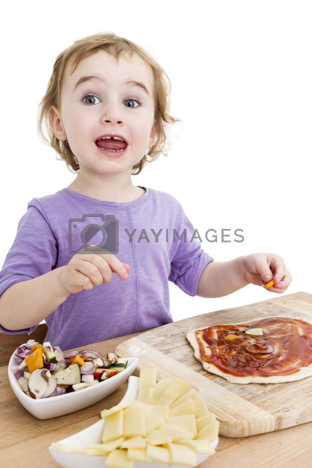 child making pizza in vertical image. studio shot isolated on white background