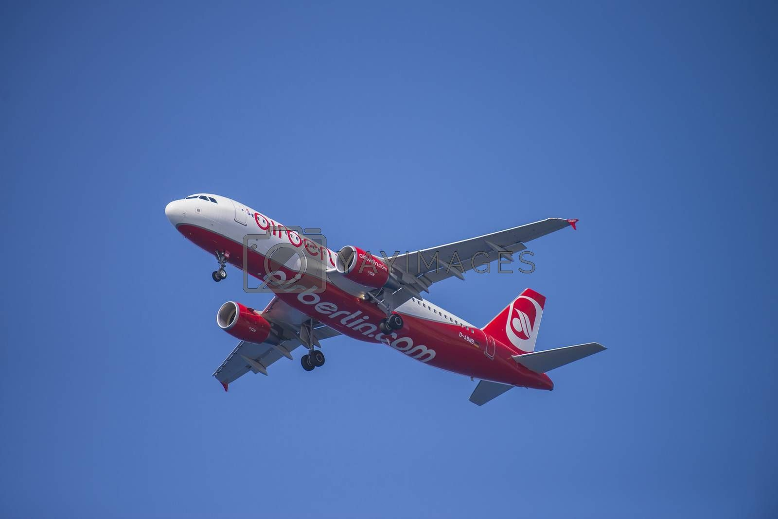 Air-Berlin, Germany, Airbus a320-214. The pictures of the planes are shot very close an airport just before landing. September 2013.