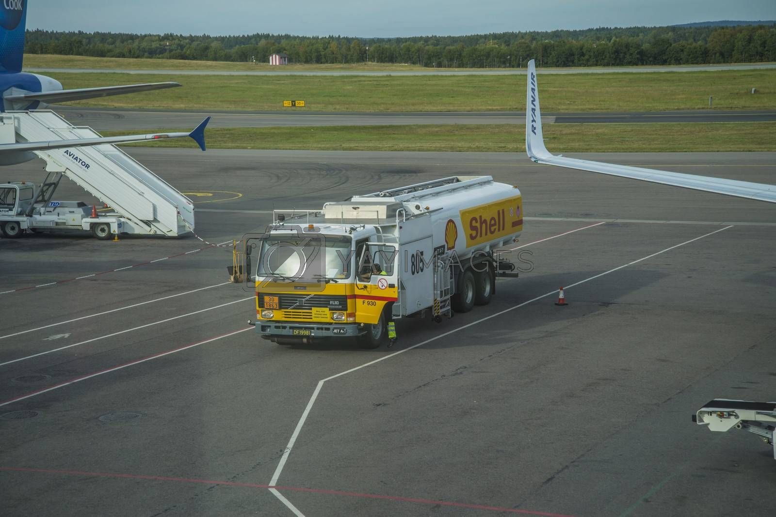 Fuel-truck at the airport. Image is shot at Moss Airport Rygge, Norway. September 2013.