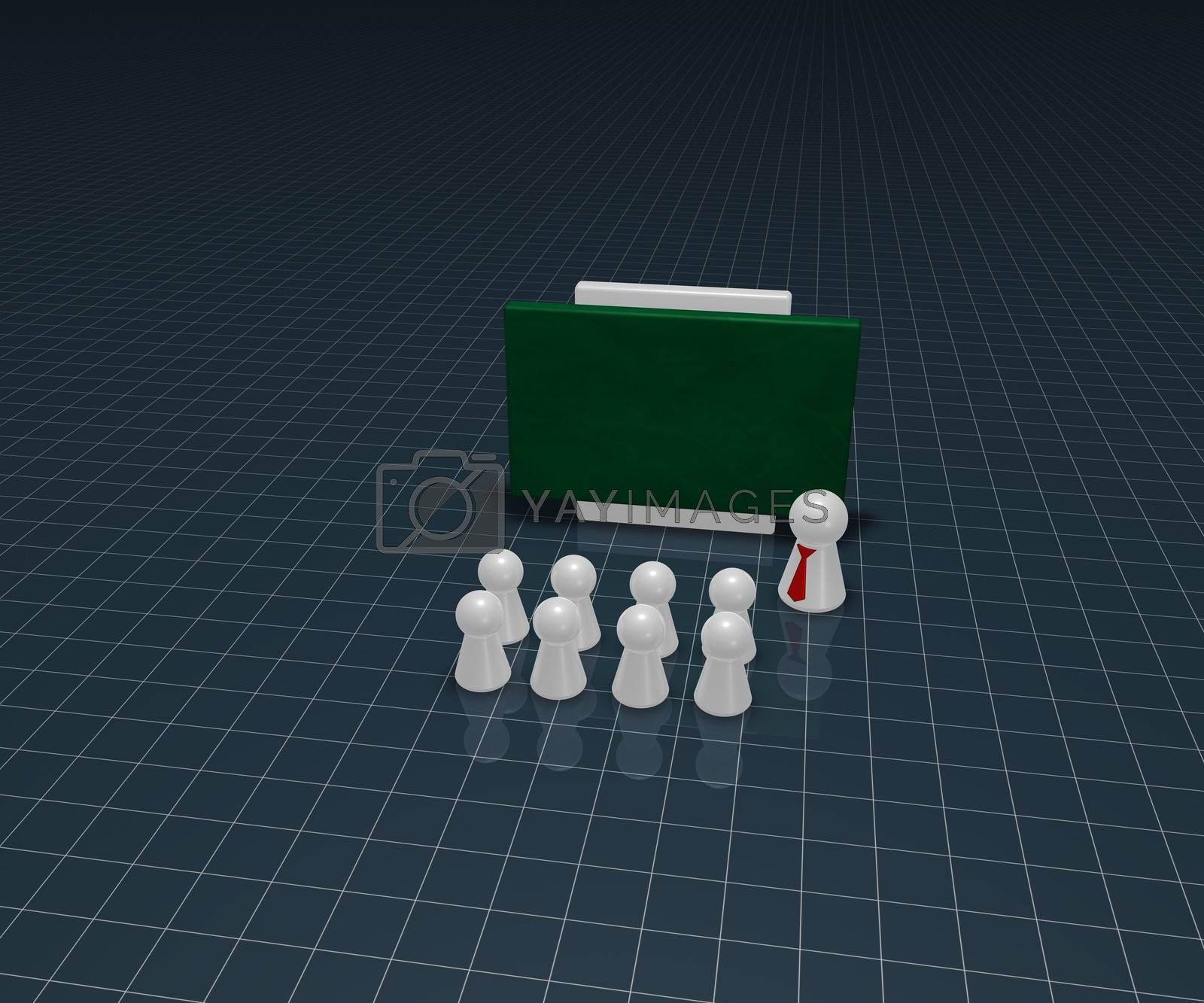 play figures and school board  - 3d illustration