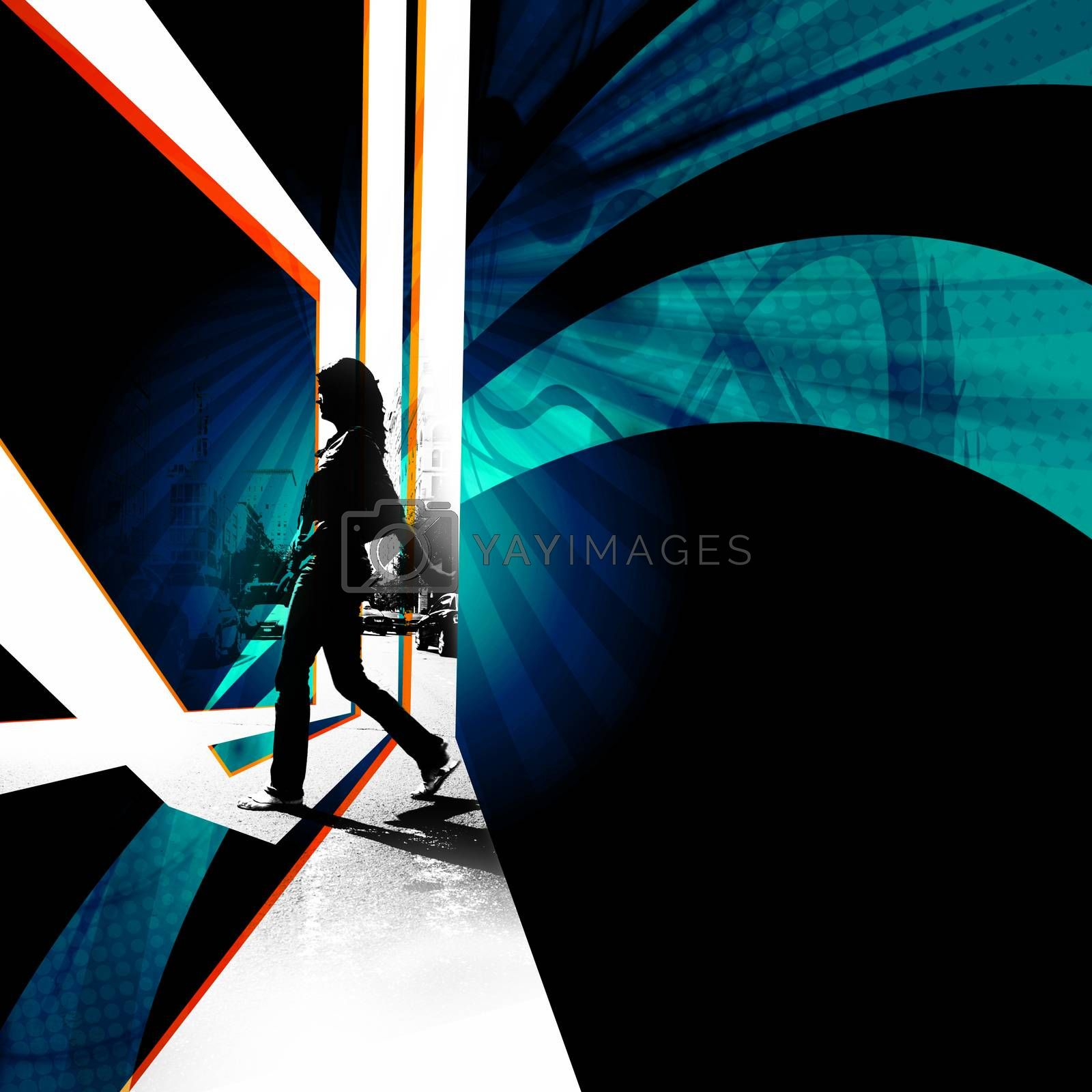 Silhouette of a female pedestrian walking across the street in the city.  Abstract montage with plenty of negative space for your layout.