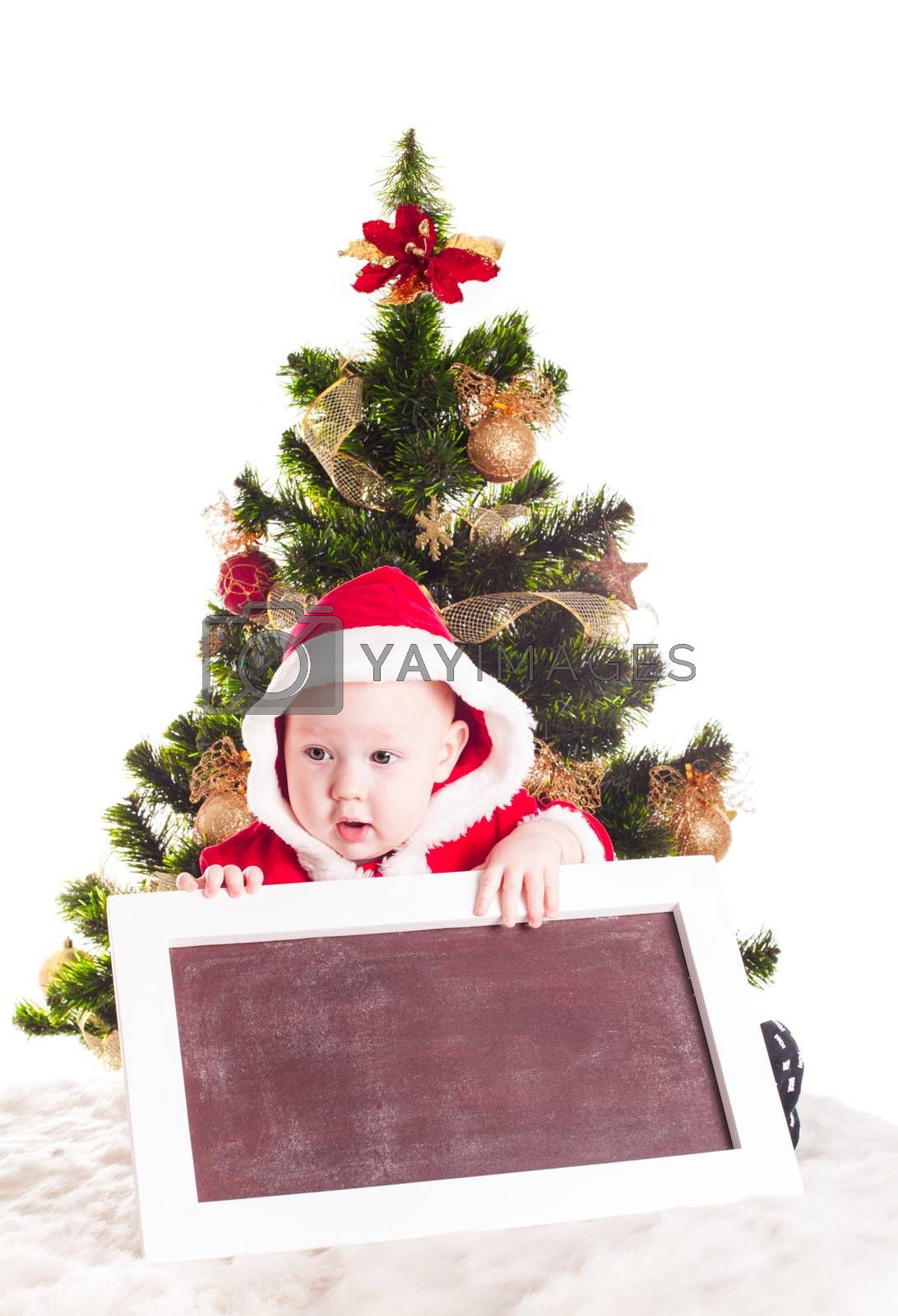 Santa and chalkboard with chritmas tree for greetings