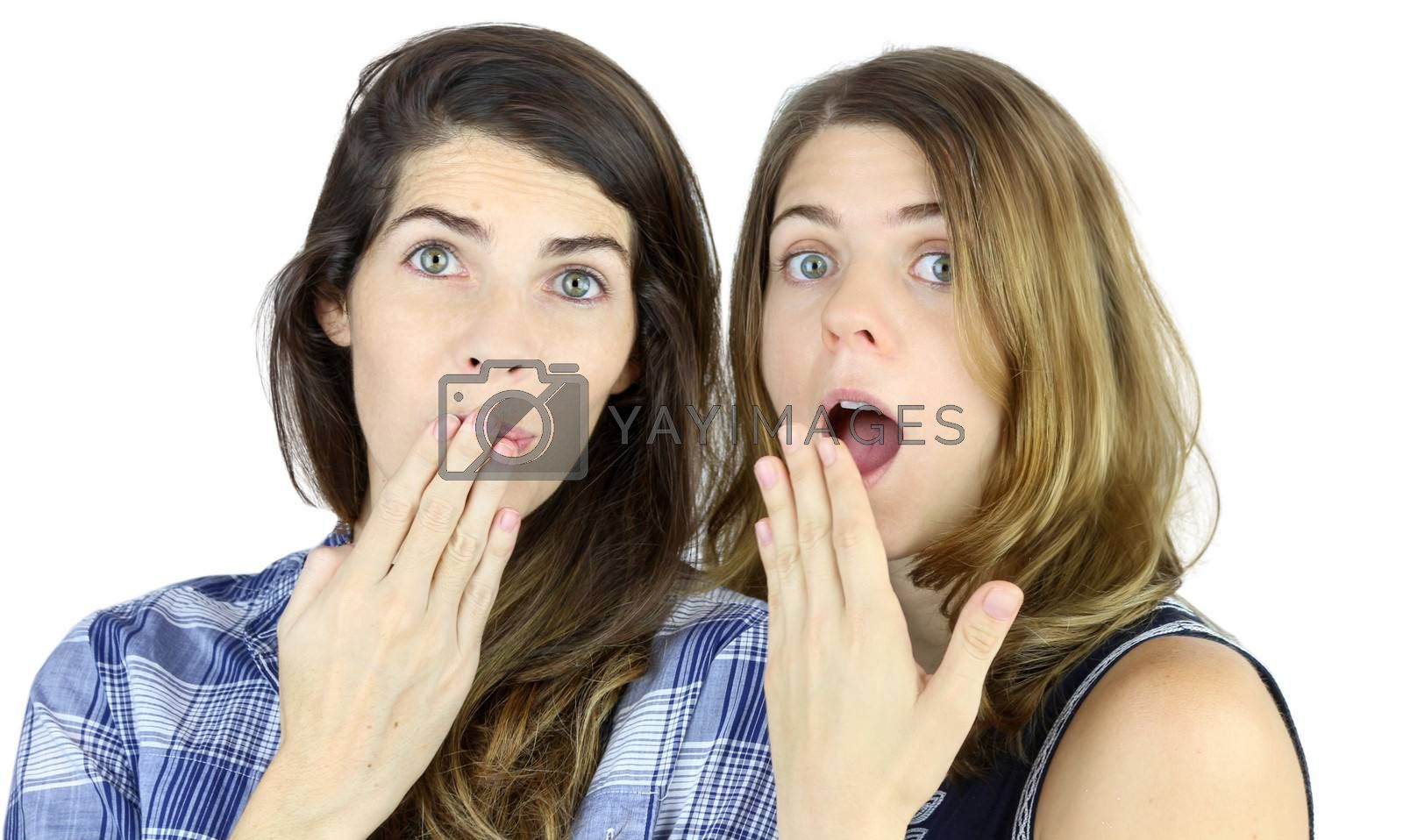 Two female friends very surprised