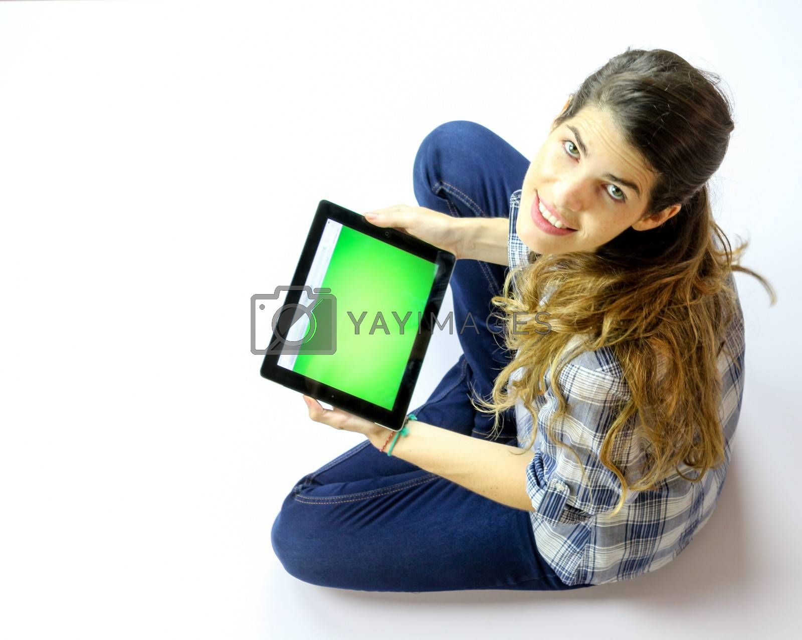 Pretty lady holding a tablet pc