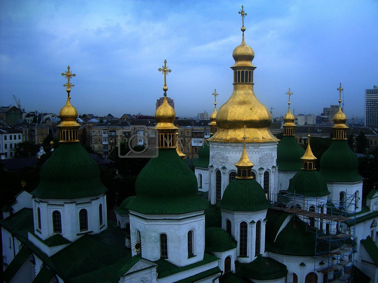 Green and golden domes of St. Sophia's Cathedral in Kiev, Ukraine