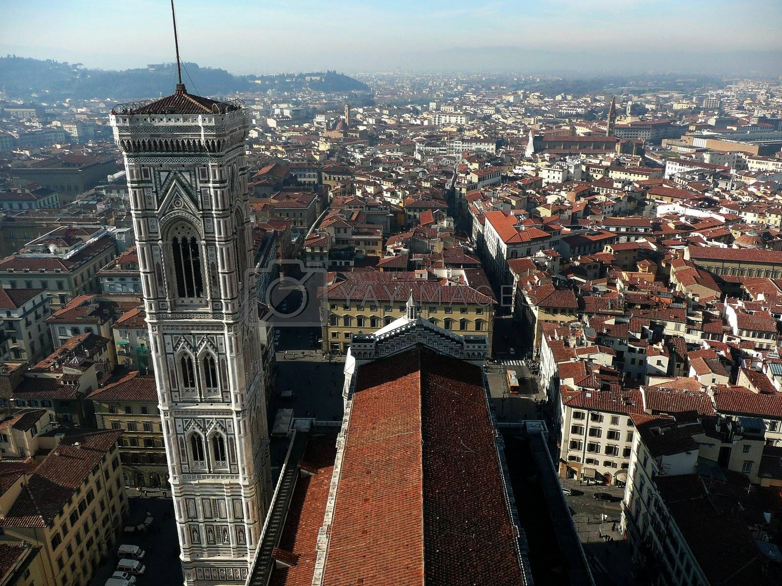 Aerial View of Florence from Brunelleschi Campanile, Italy