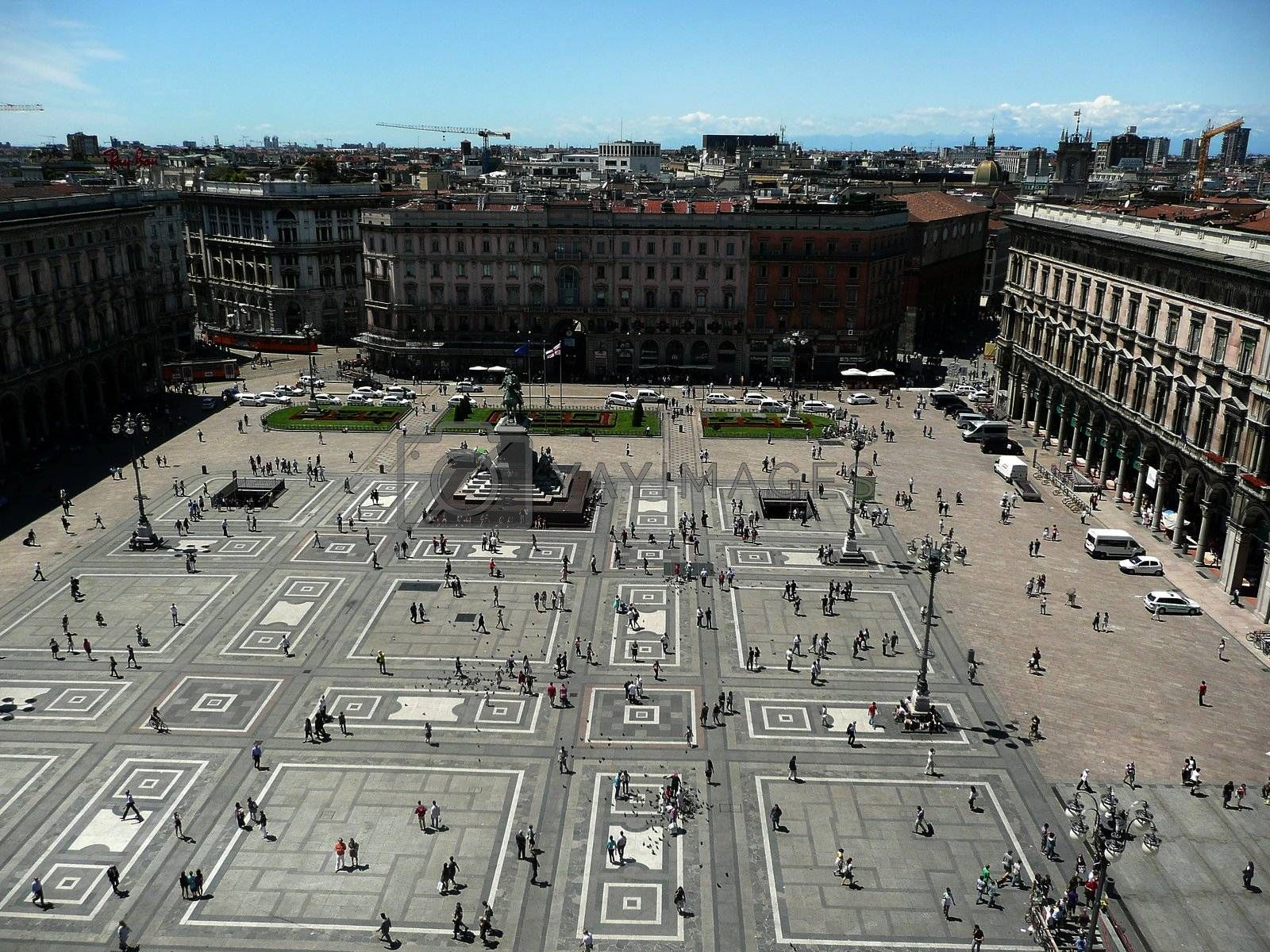 Aerial view of Piazza del Duomo, Milan Cathedral, Italy