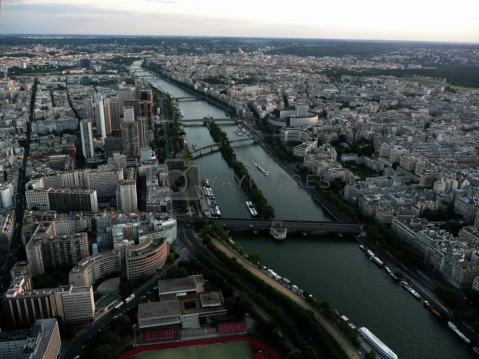 Panoramic View of Paris from Tour Eiffel, France