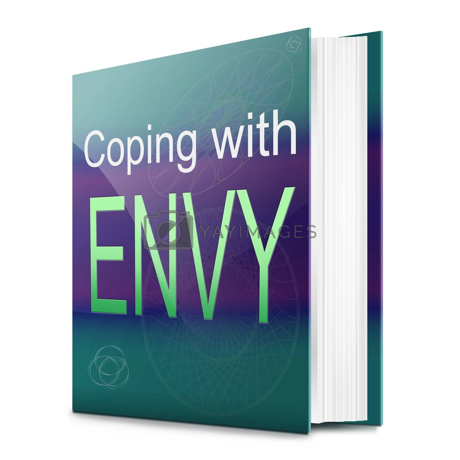 Illustration depicting a text book with an envy concept title. White background.