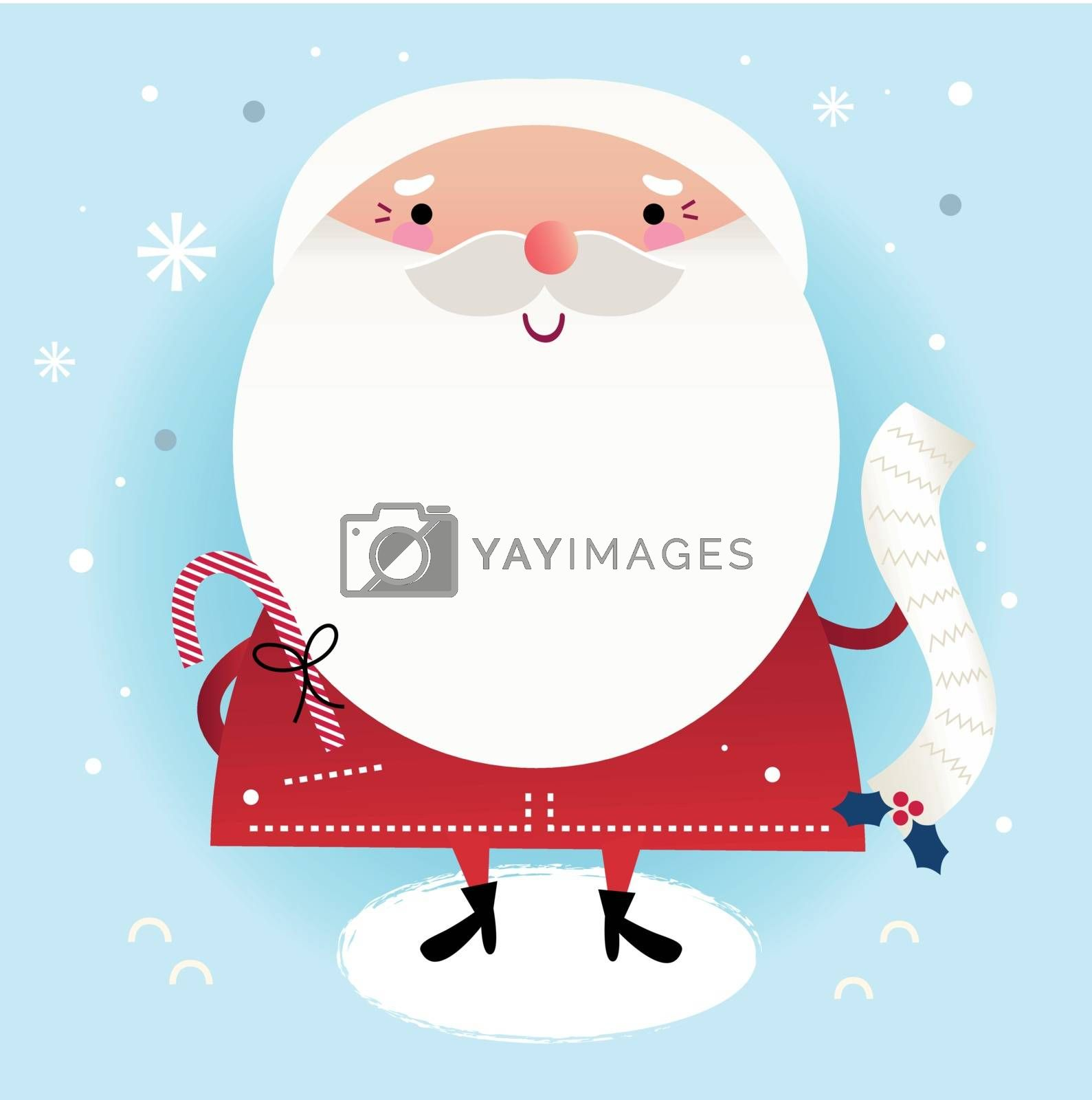 Cute Santa with note. Vector cartoon Illustration