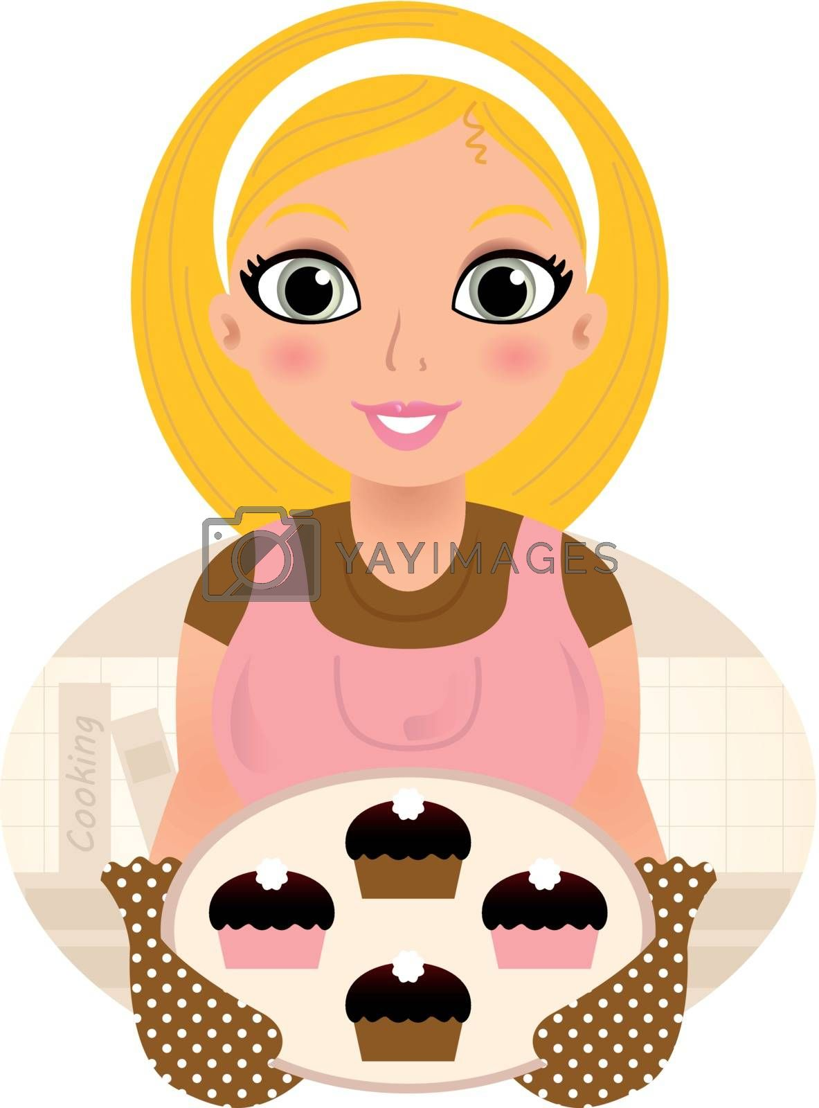 Vintage cooking Woman holding cookies. Vector Illustration        Vintage cooking Woman holding cookies. Vector Illustration