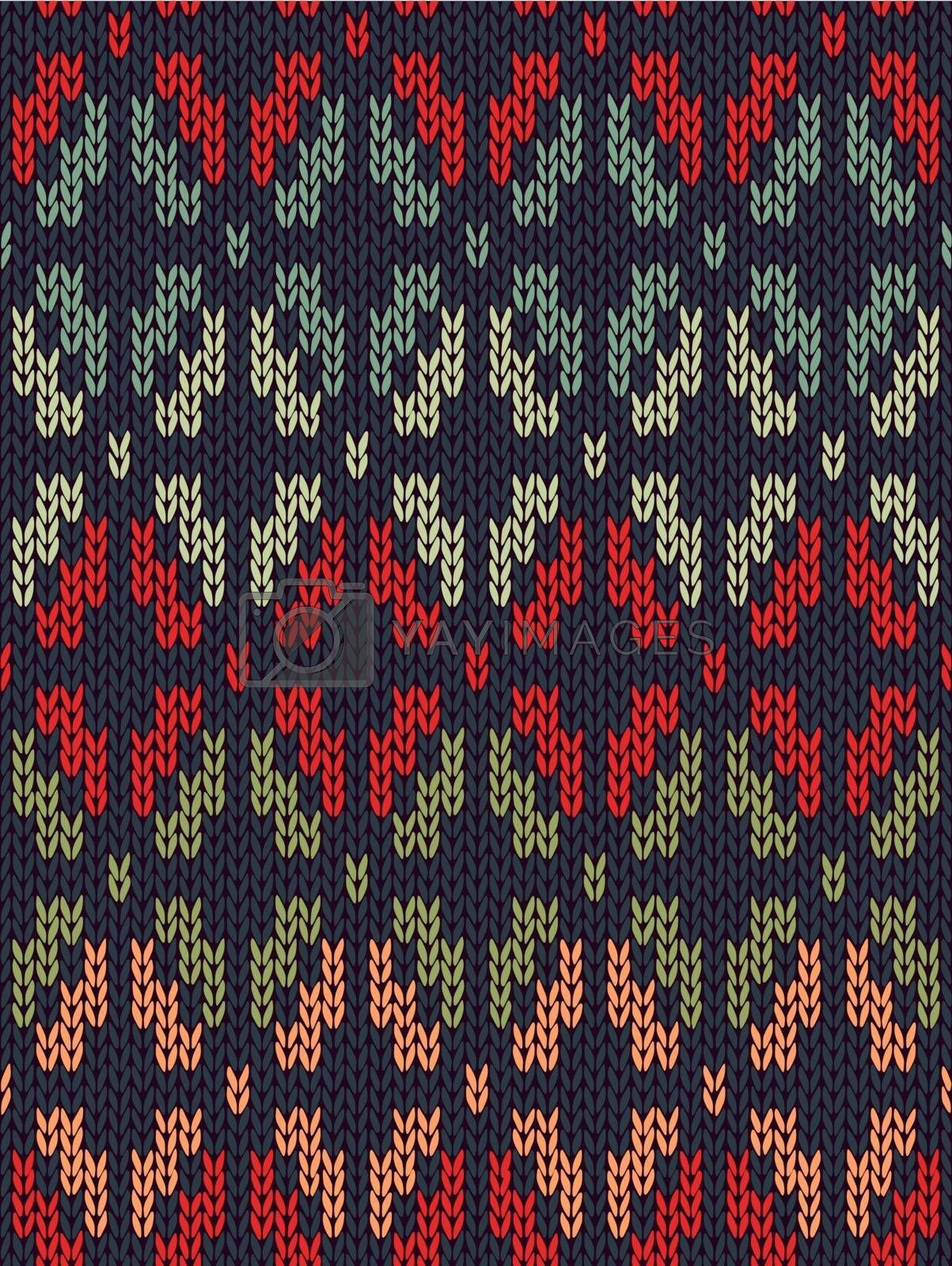 Style Seamless Knitted Pattern. Red Blue Green Orange Color Illustration from my large Collection of Samples of knitted Fabrics