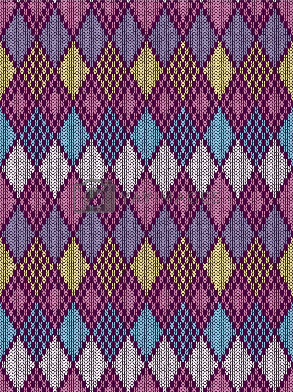 Style Seamless Knitted Pattern.Blue Pink Yellow Color Illustration from my large Collection of Samples of knitted Fabrics