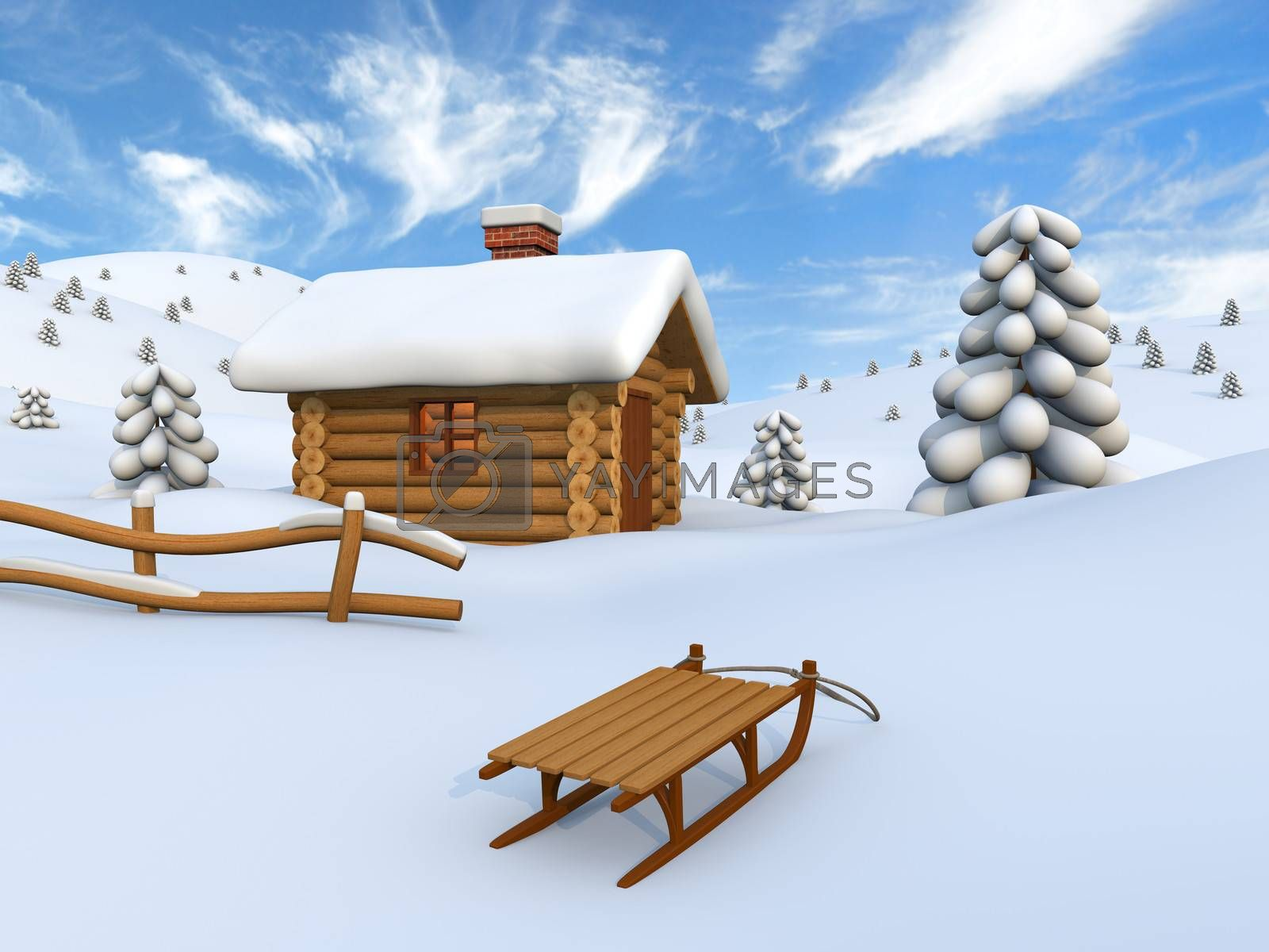 Picturesque winter scenery with log cabin and sledge