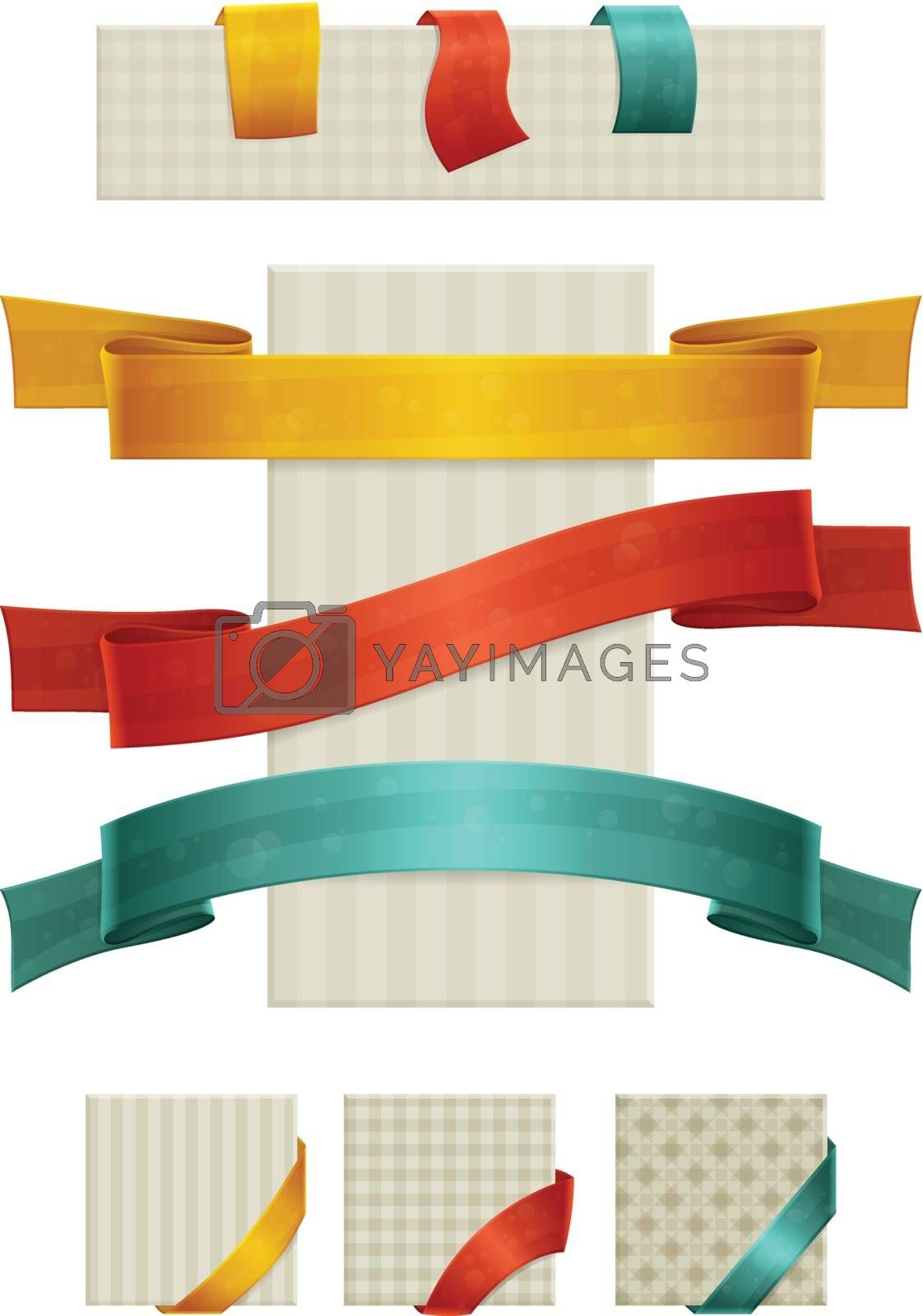 set of ribbons, labels and different colors on the corners of seamless textures