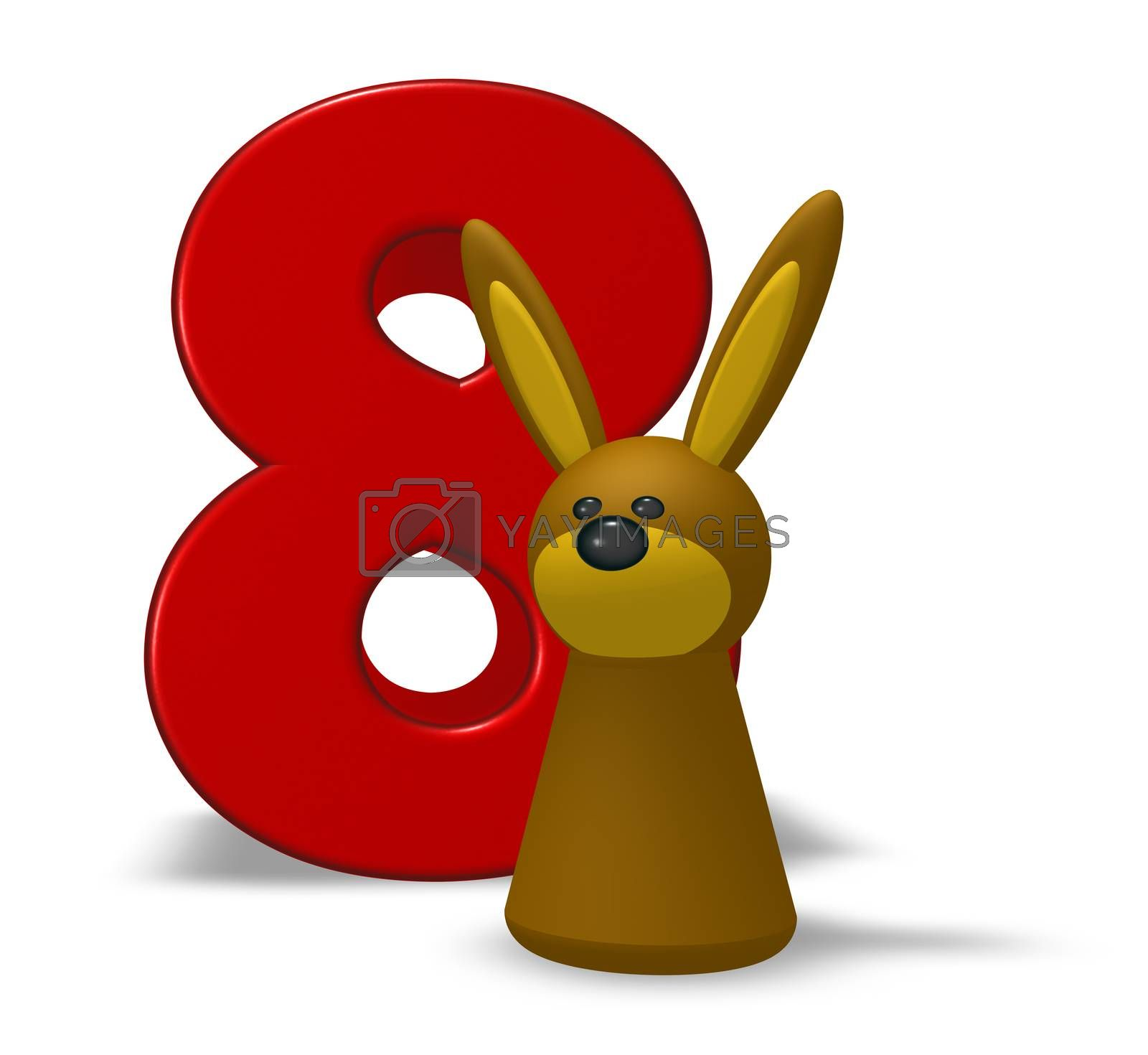 number eight and rabbit - 3d illustration