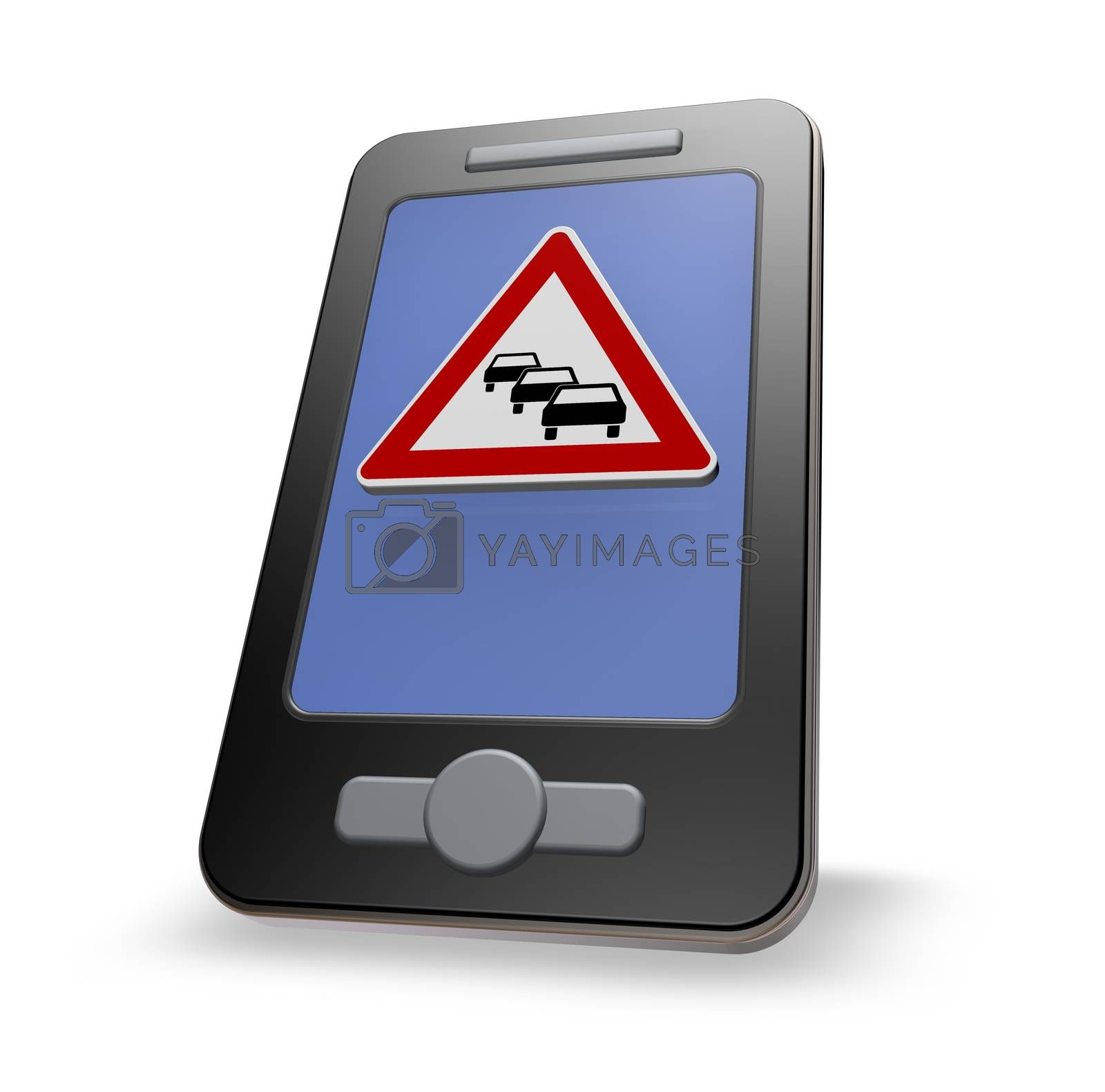smartphone with road sign traffic jam on white background - 3d illustration