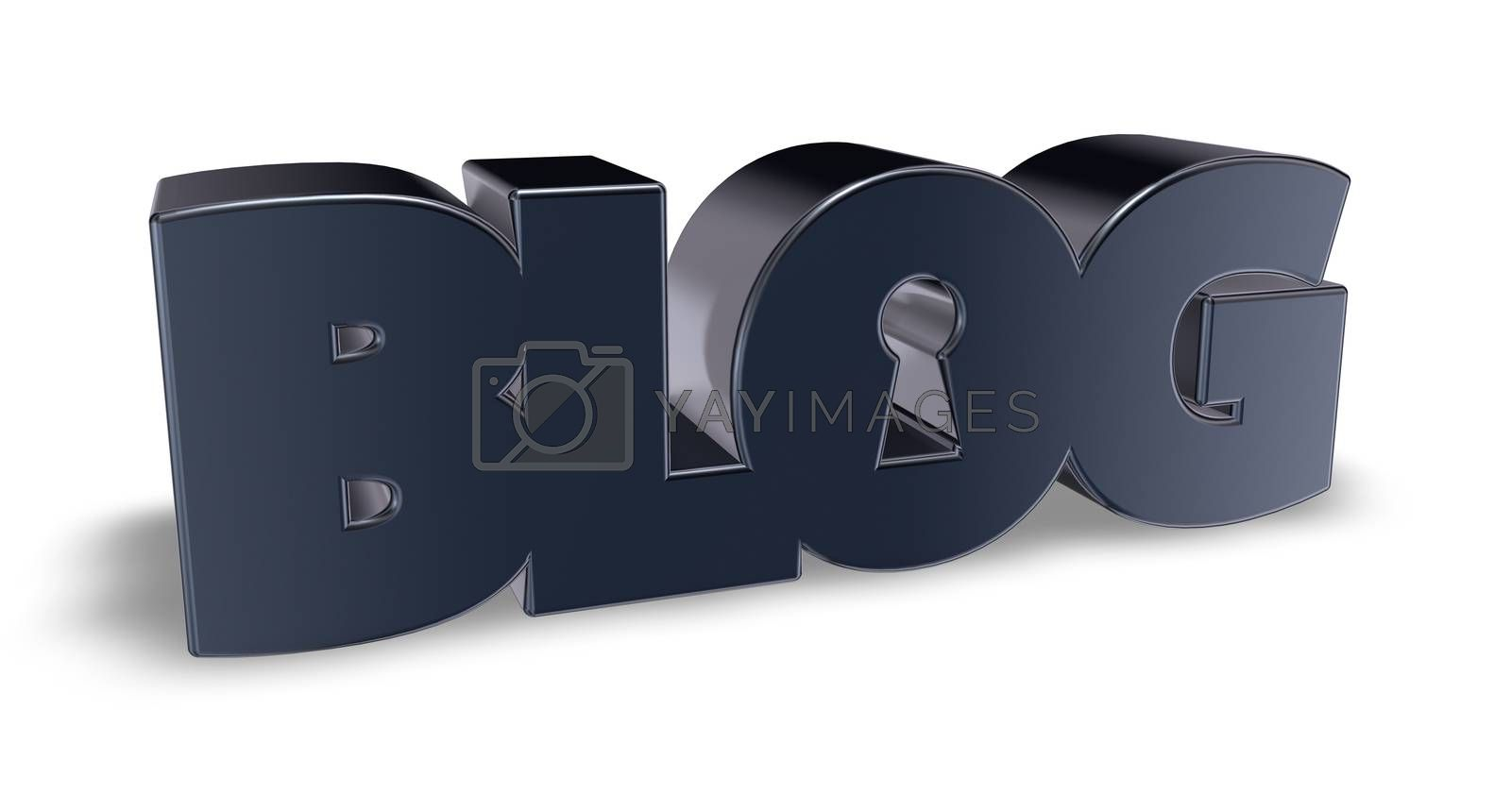 the word blog with keyhole - 3d illustration