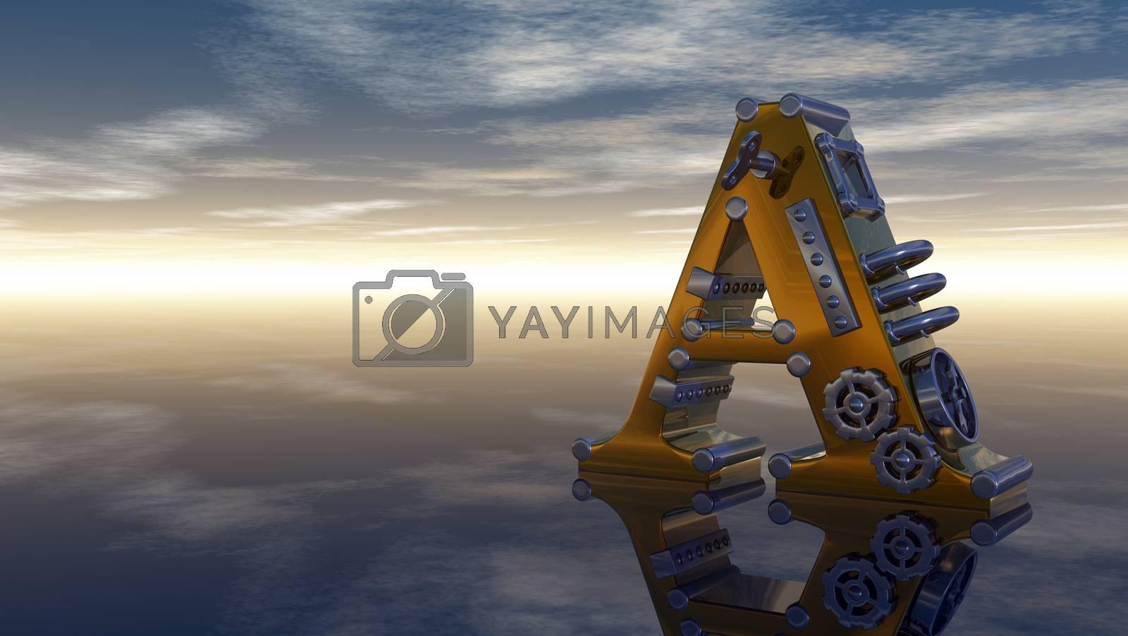 machine letter a under cloudy sky - 3d illustration