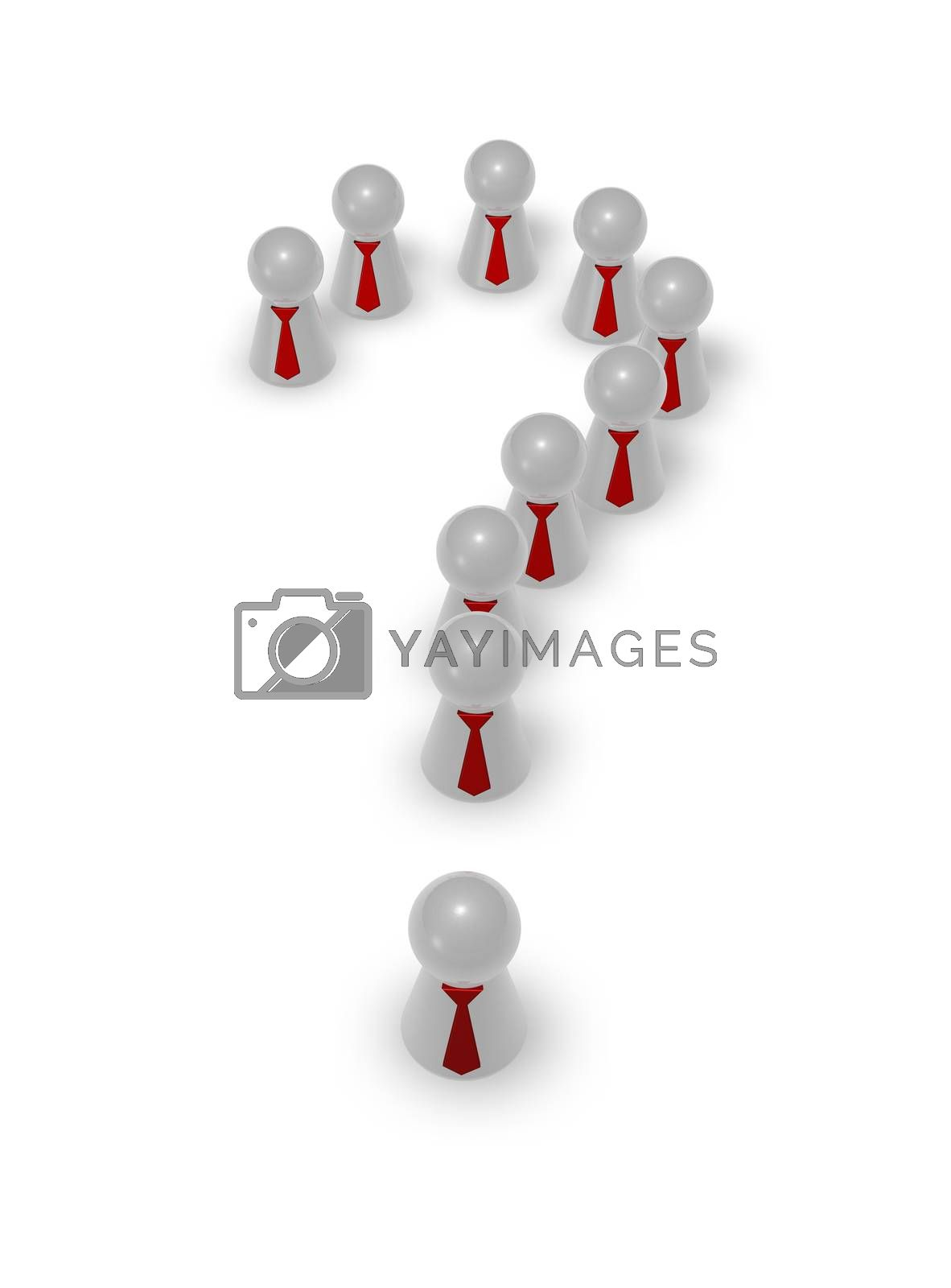 play figures with tie making shape of question mark - 3d illustration