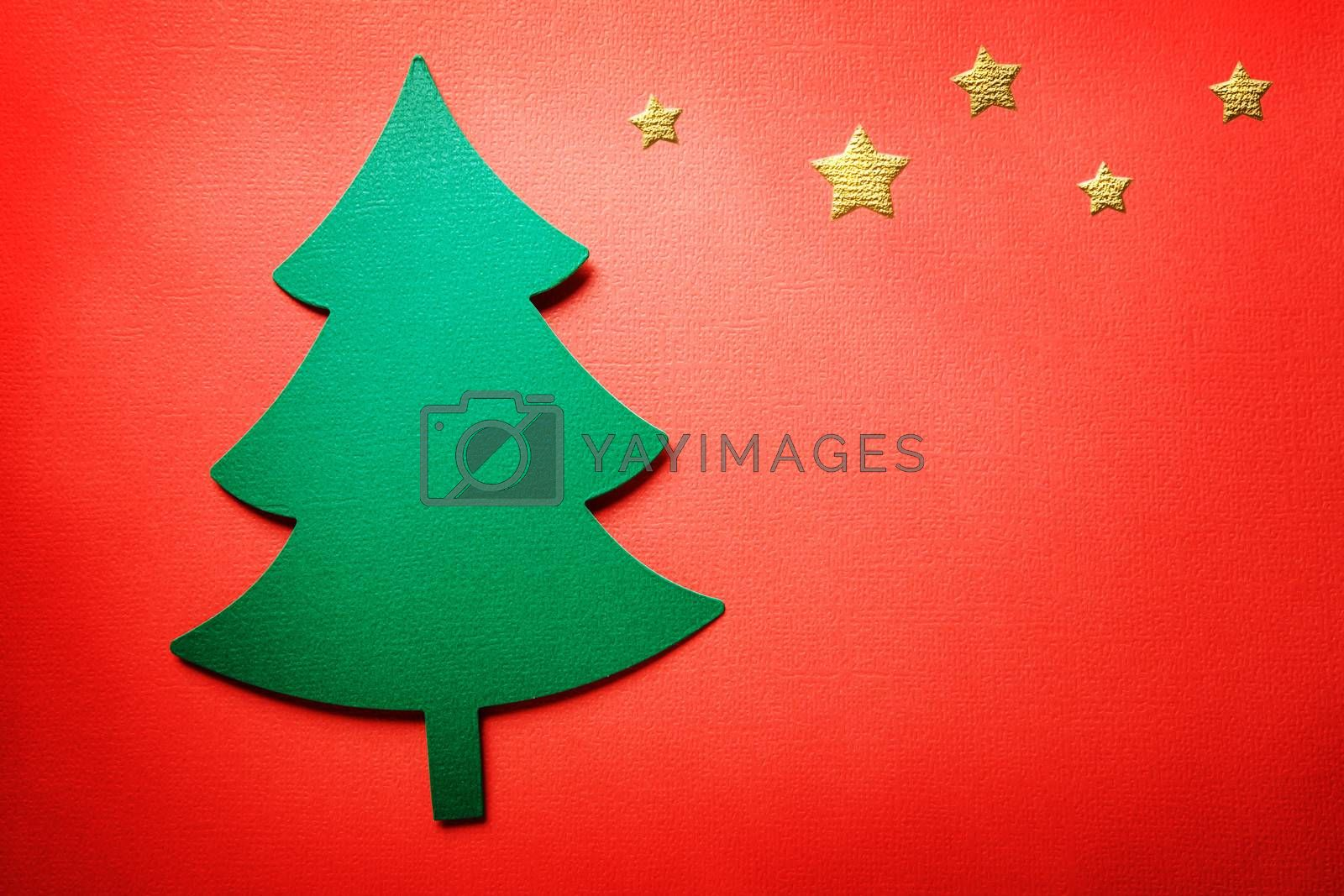Royalty free image of Handmade paper craft Christmas tree by melpomene