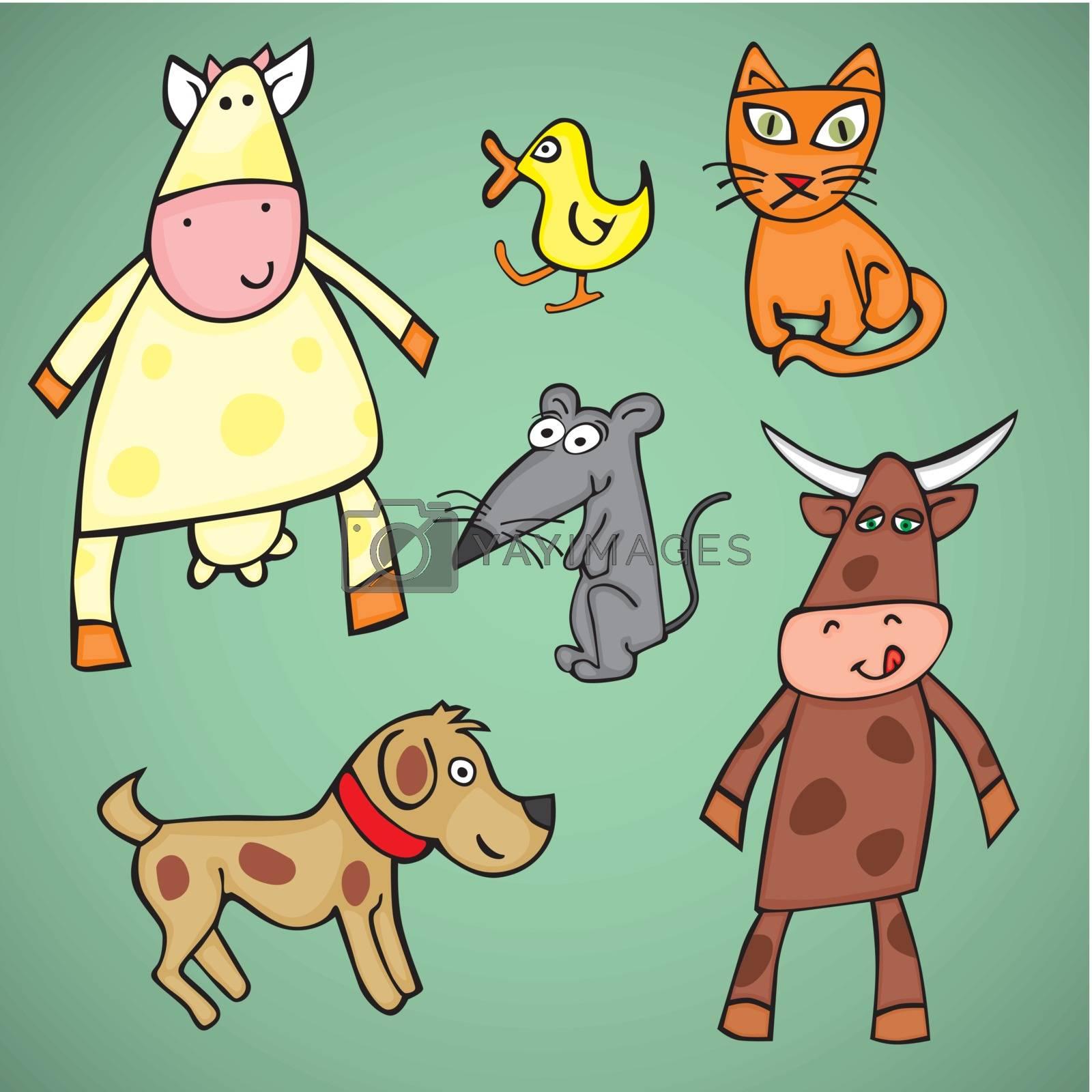 fully editable vector illustration animals