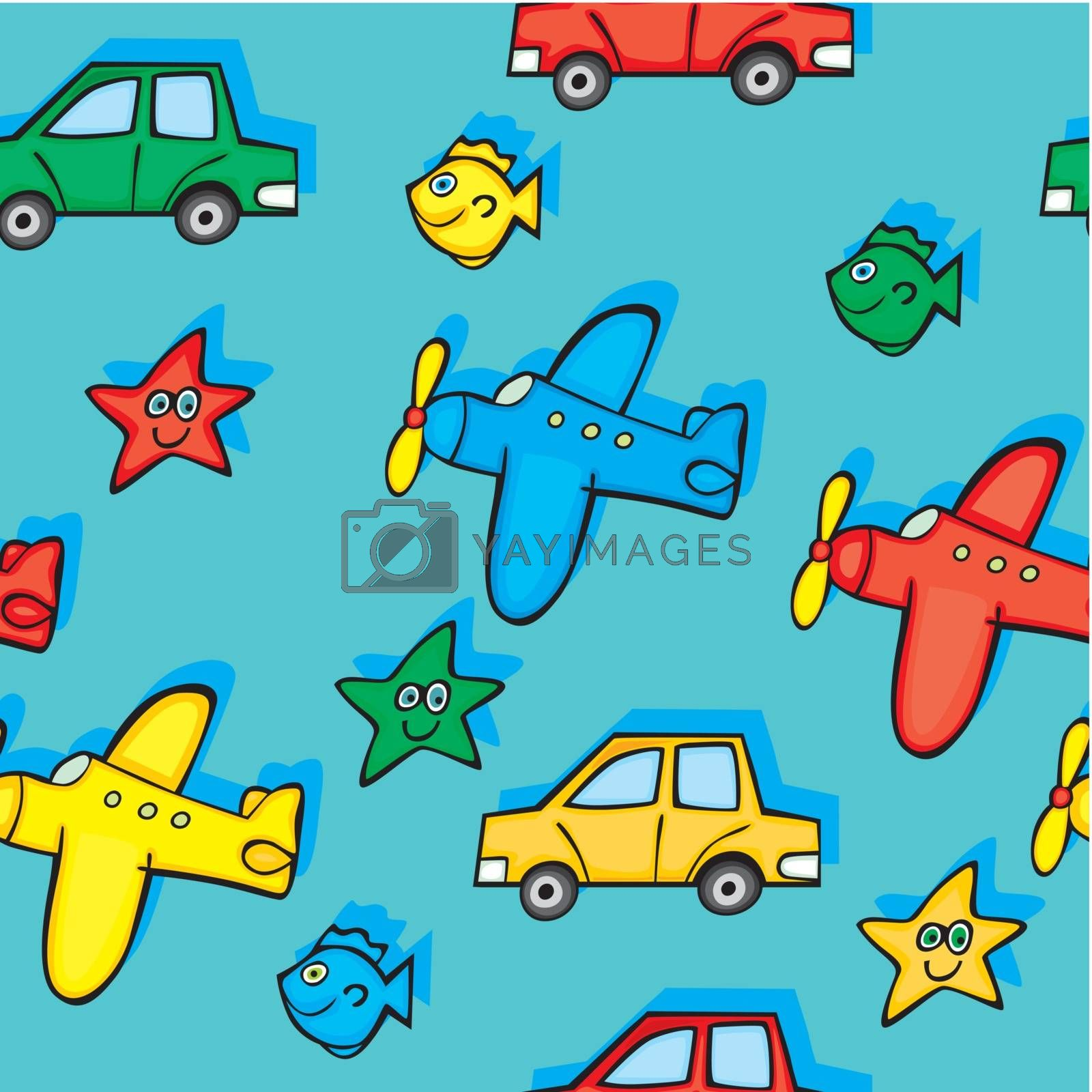fully editable vector illustration with seamless toys