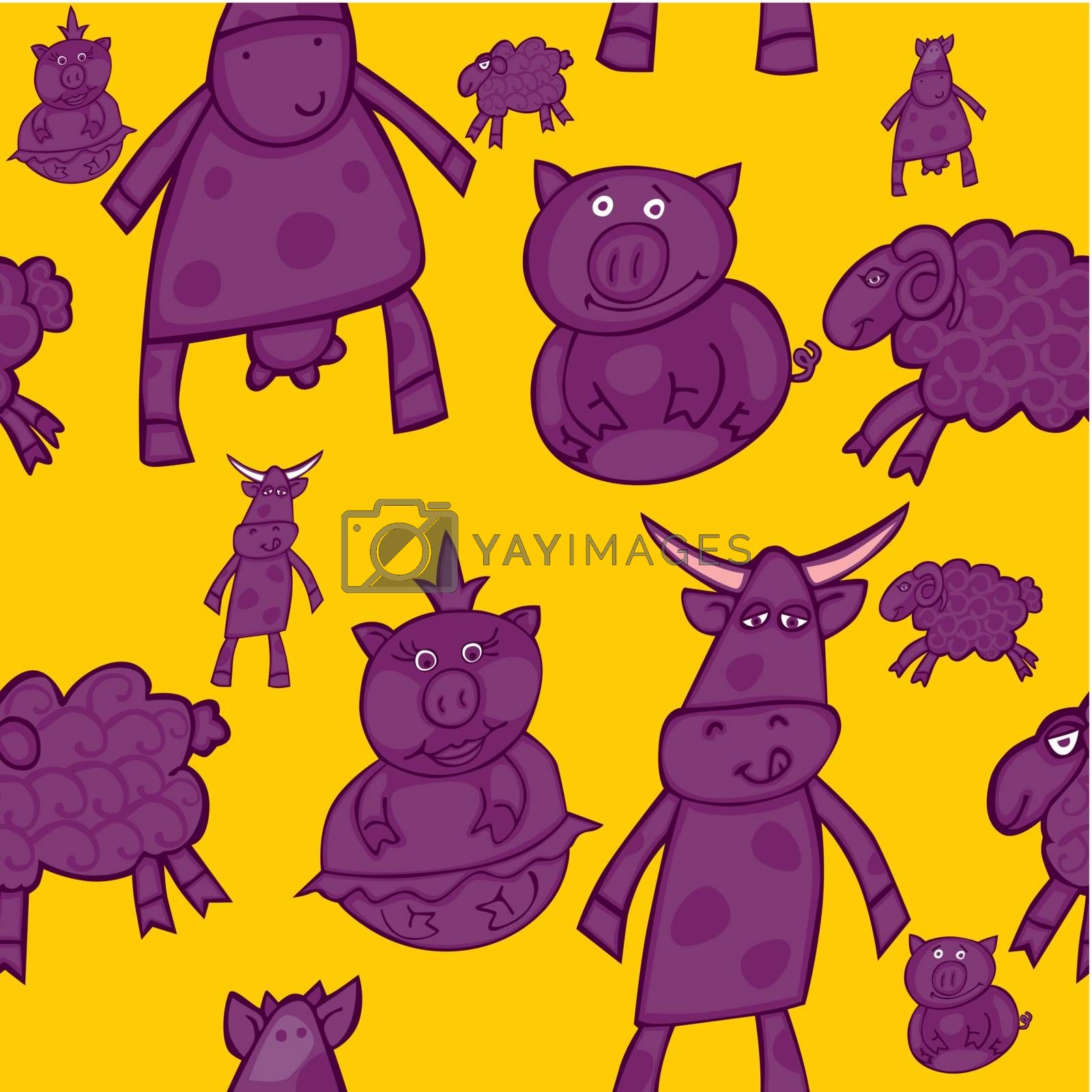 fully editable vector illustration with seamless animals