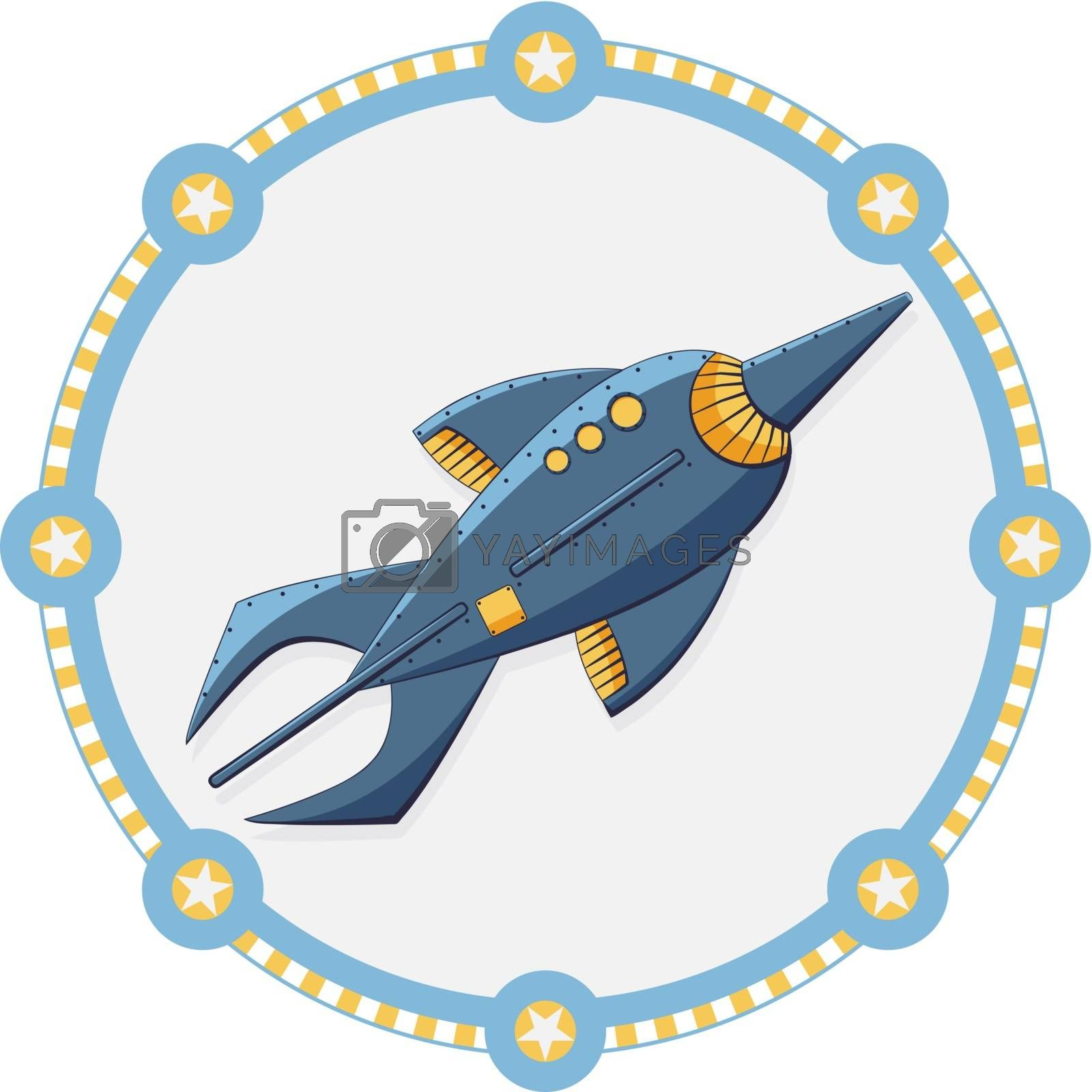 Blue space rocket with a round frame