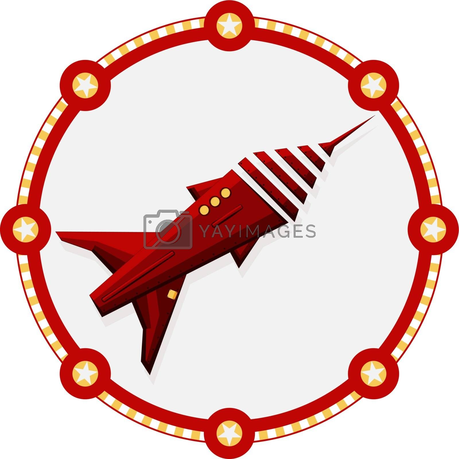 Isolated red space rocket with a round frame