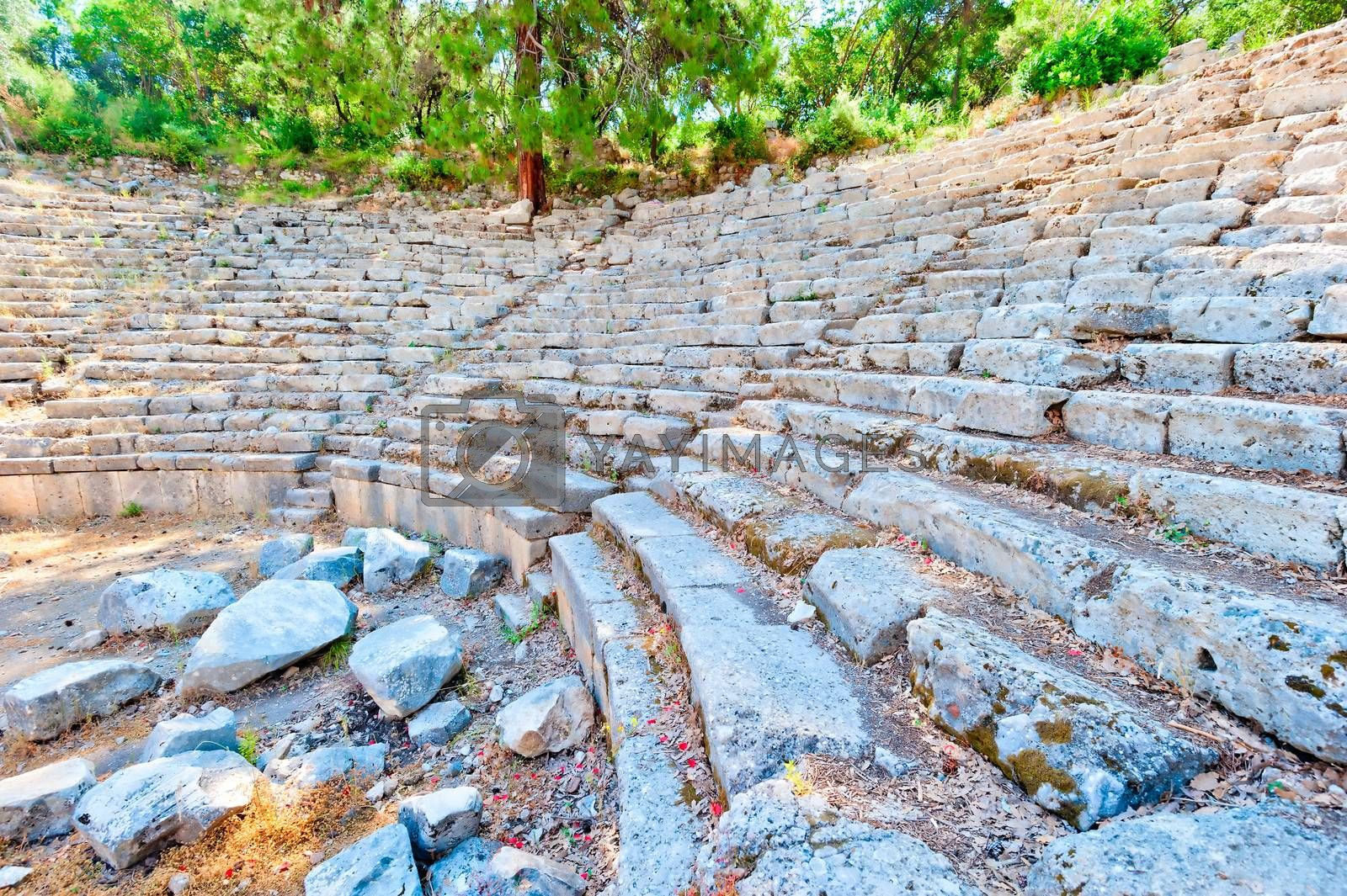 Ruins of the ancient amphitheater in Turkey